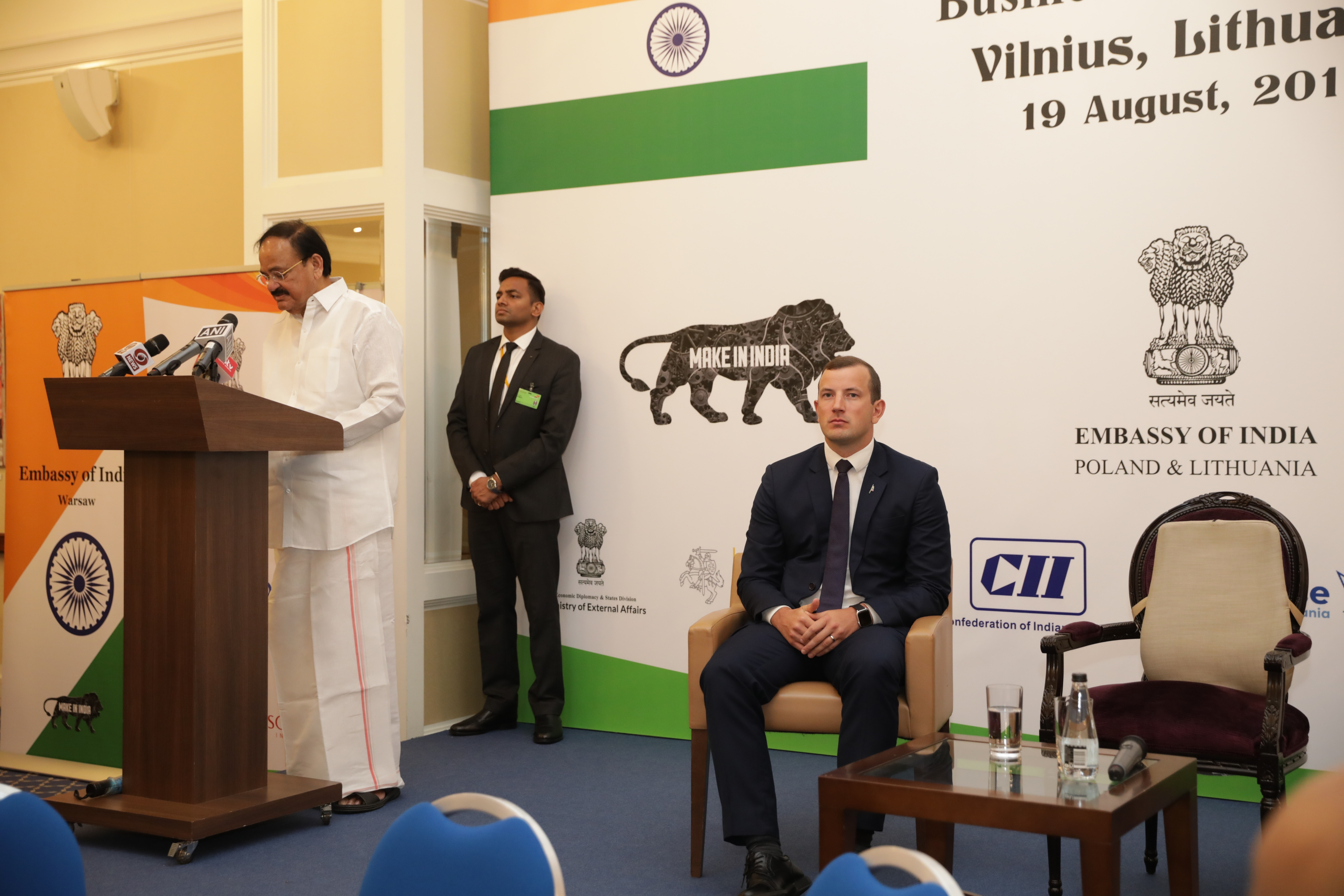The Vice President, Shri M. Venkaiah Naidu addressing the gathering at the India-Lithuania business forum in Vilnius, Lithuania on August 19, 2019.