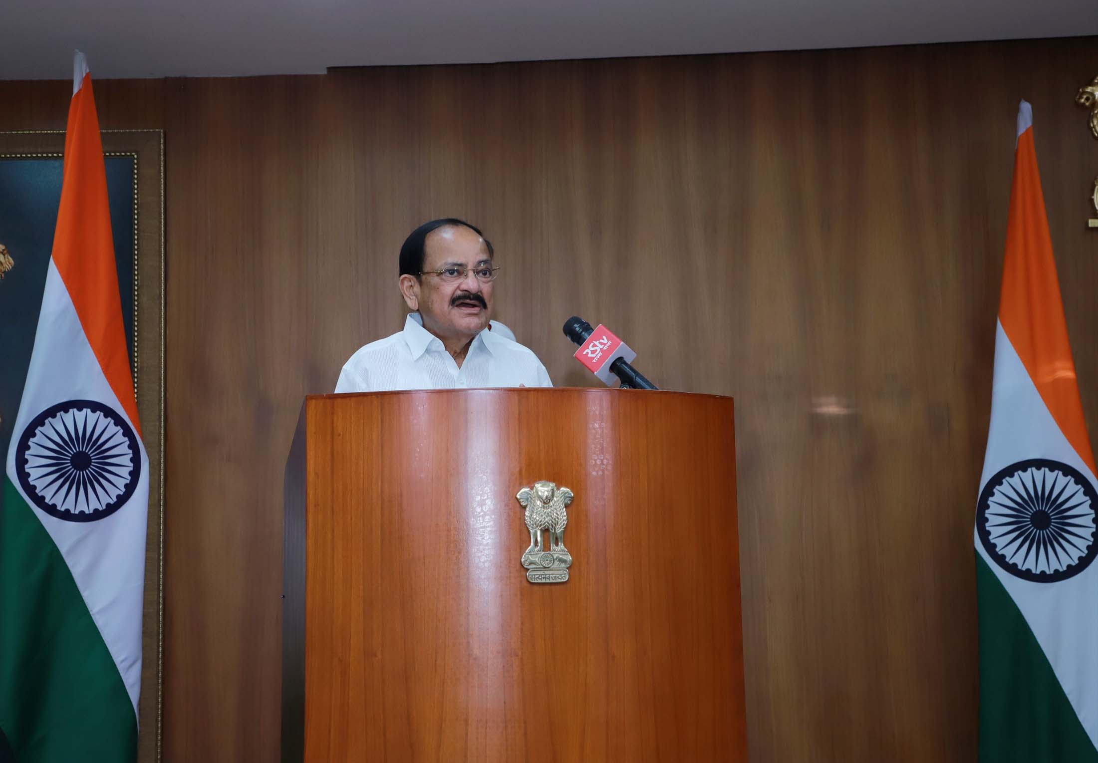 The Vice President, Shri M. Venkaiah Naidu delivering his address virtually on the occasion of Hindi Diwas,  from New Delhi on 14 September 2020.