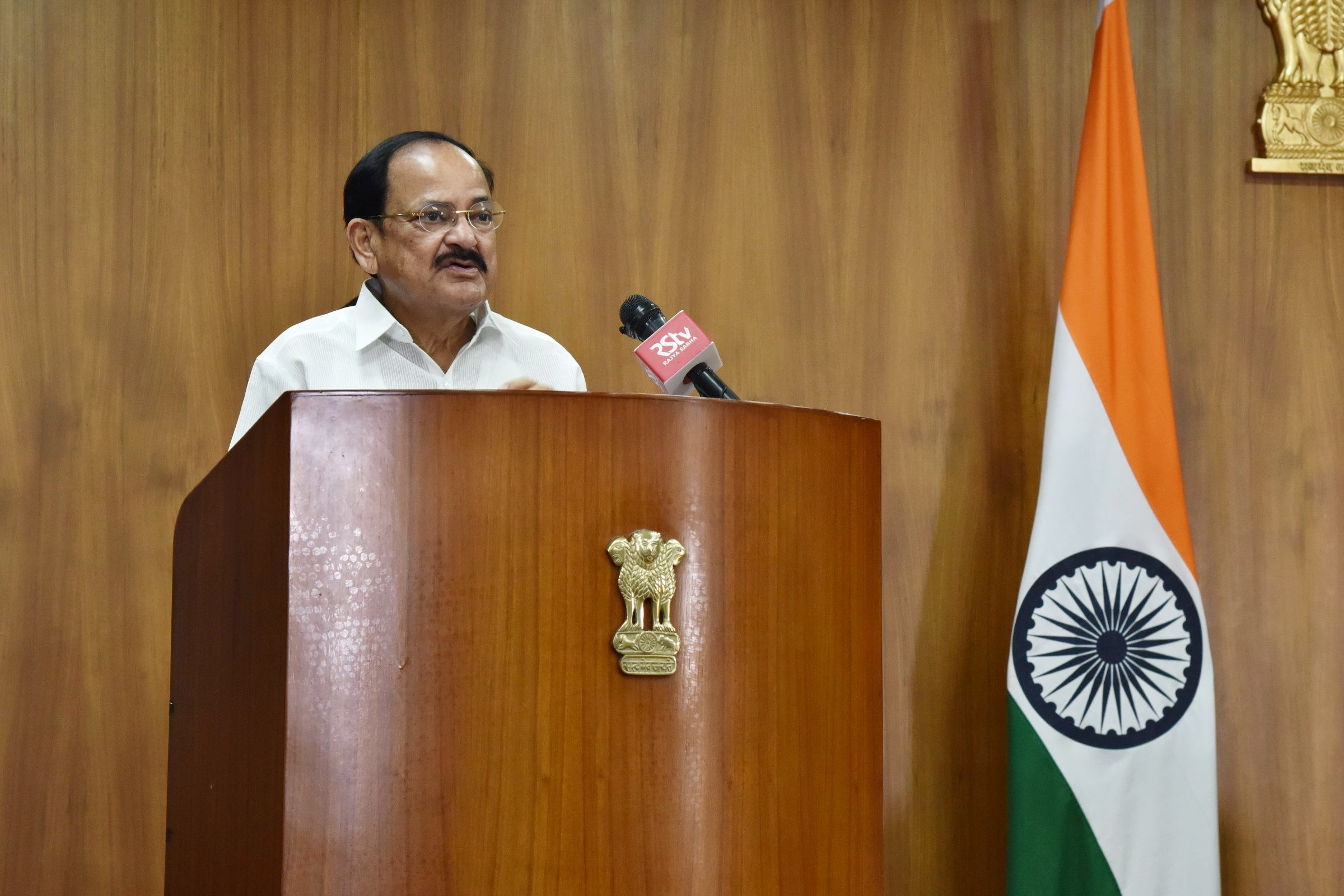 The Vice President, Shri M. Venkaiah Naidu delivering his address virtually, at the inauguration of the online Global Ayurveda Summit, from New Delhi on 15 September 2020.