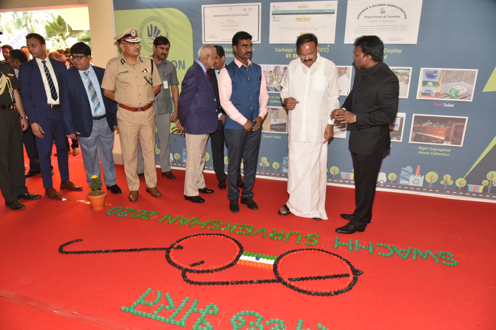 The Vice President, Shri M. Venkaiah Naidu visiting the photo gallery and exhibition put up by the Port Blair Municipal Council on the theme 'Sanitation and Solid Waste Management' in Port Blair, Andaman and Nicobar on January 17, 2020.