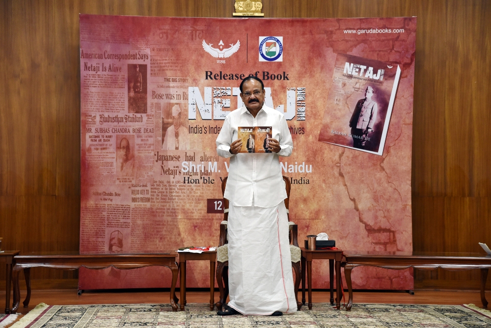 The Vice President, Shri M. Venkaiah Naidu releasing the book 'NETAJI—India's Independence and British Archives' along with its Hindi version at Upa-Rashtrapati Bhavan in New Delhi on 12 August, 2020.
