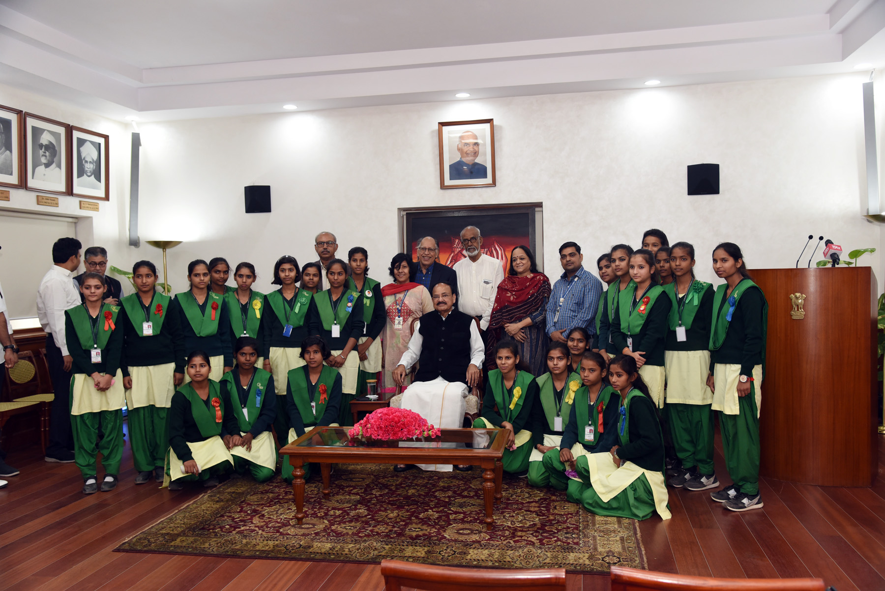 The Vice President, Shri M. Venkaiah Naidu with the students from 'Pardada Pardadi Educational Society' on the occasion of Children's Day, in New Delhi on 14 November, 2019.
