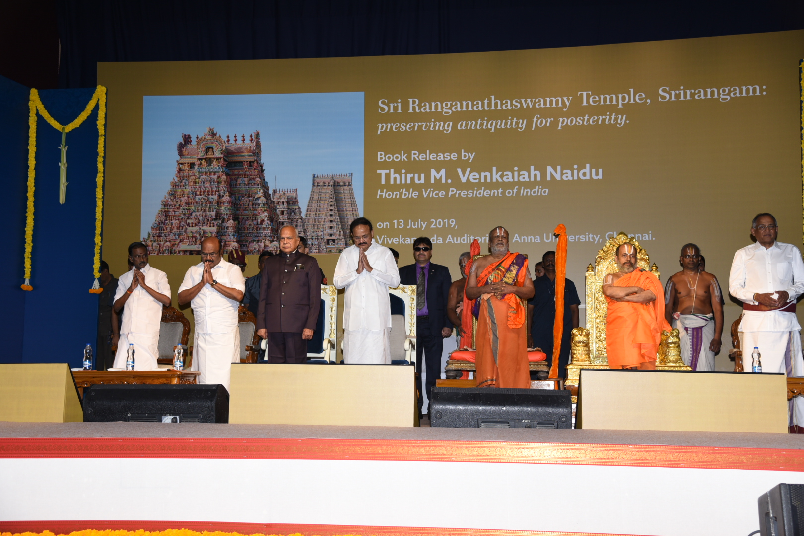 The Vice President Shri. M Venkaiah Naidu, at the release of the coffee table book 'Sri Ranganathaswamy temple, Srirangam, Preserving Antiquity for Posterity', in Chennai, on 13th July 2019.