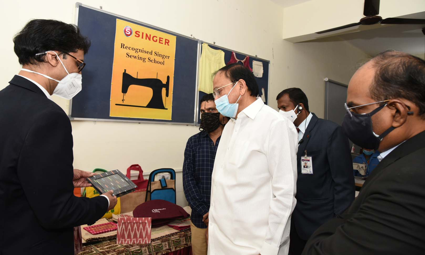 The Vice President, Shri M. Venkaiah Naidu during a visit to GMR Varalakshmi Foundation's Centre for Empowerment and Livelihoods in Hyderabad on August 1, 2021
