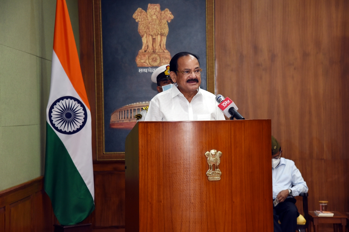 The Vice President, Shri M. Venkaiah Naidu addressing the gathering after releasing the book 'NETAJI—India's Independence and British Archives' along with its Hindi version at Upa-Rashtrapati Bhavan in New Delhi on 12 August, 2020.