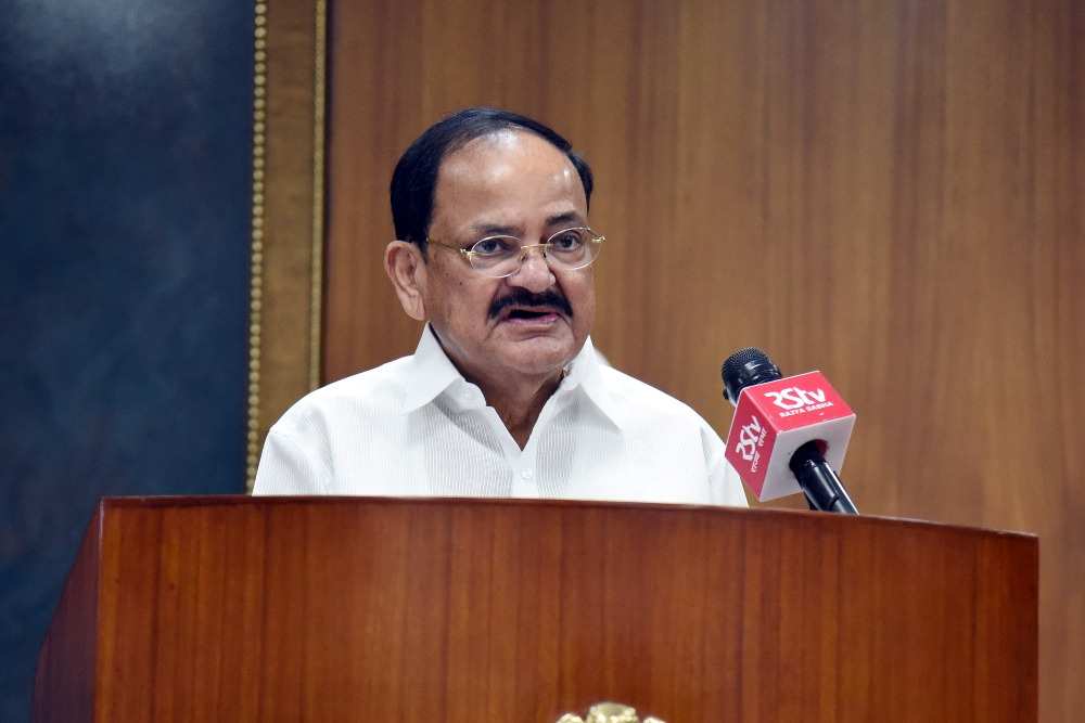The Vice President, Shri M. Venkaiah Naidu delivering inaugural address through video conferencing at the 14th edition of FICCI HEAL at Upa-Rashtrapati Nivas in New Delhi on 29 September, 2020.