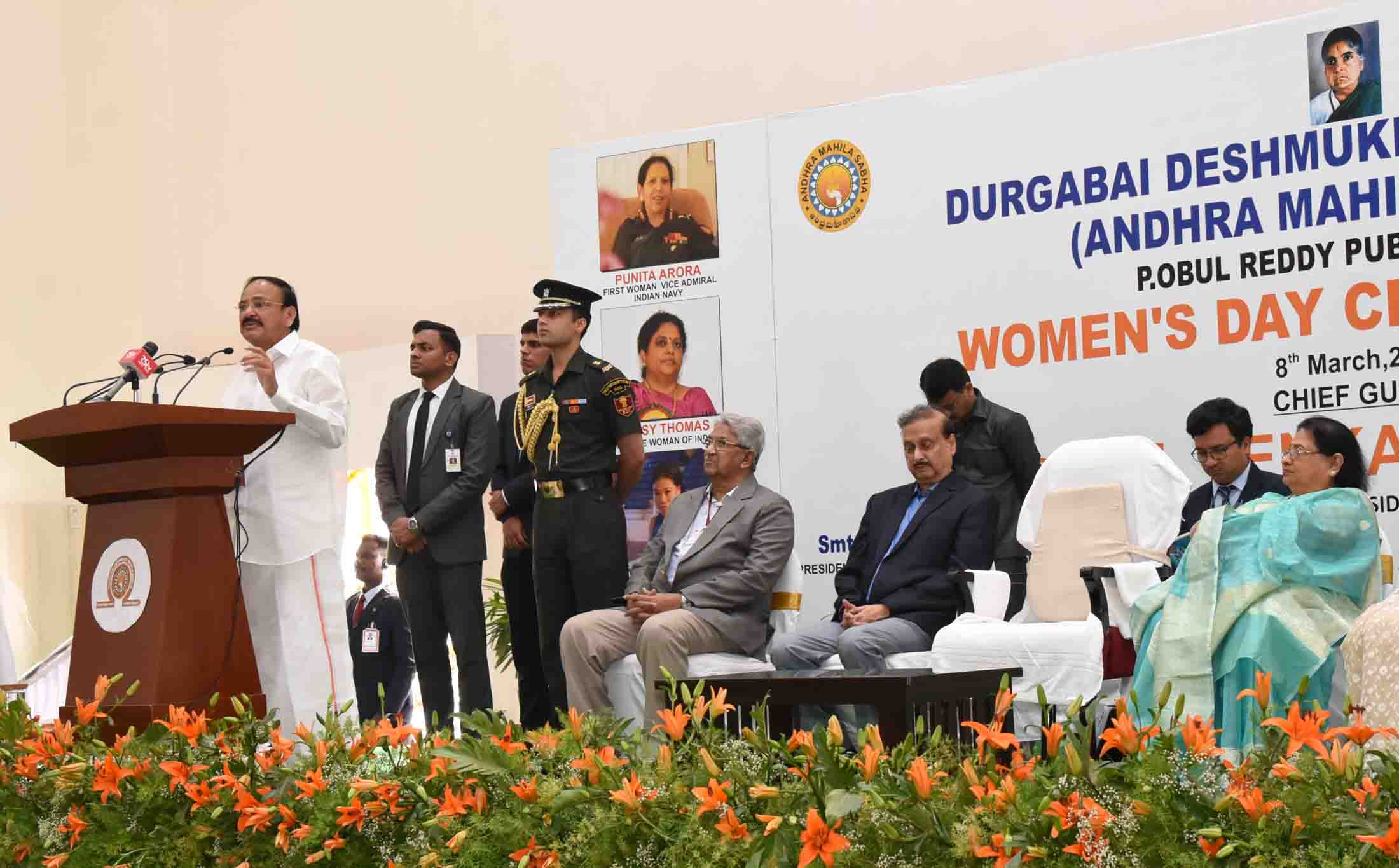 The Vice President, Shri M. Venkaiah Naidu addressing the gathering at the Women's Day celebrations, organised by Durgabai Deshmukh Mahila Sabha (formerly Andhra Mahila Sabha) – P.Obul Reddy Public School, in Hyderabad on March 08, 2020.