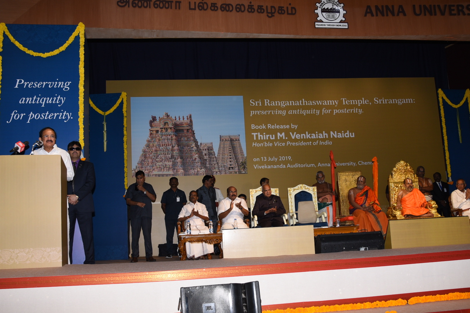 The Vice President Shri. M Venkaiah Naidu, addressing the gathering at the release of the coffee table book 'Sri Ranganathaswamy temple, Srirangam, Preserving Antiquity for Posterity', in Chennai, on 13th July 2019.