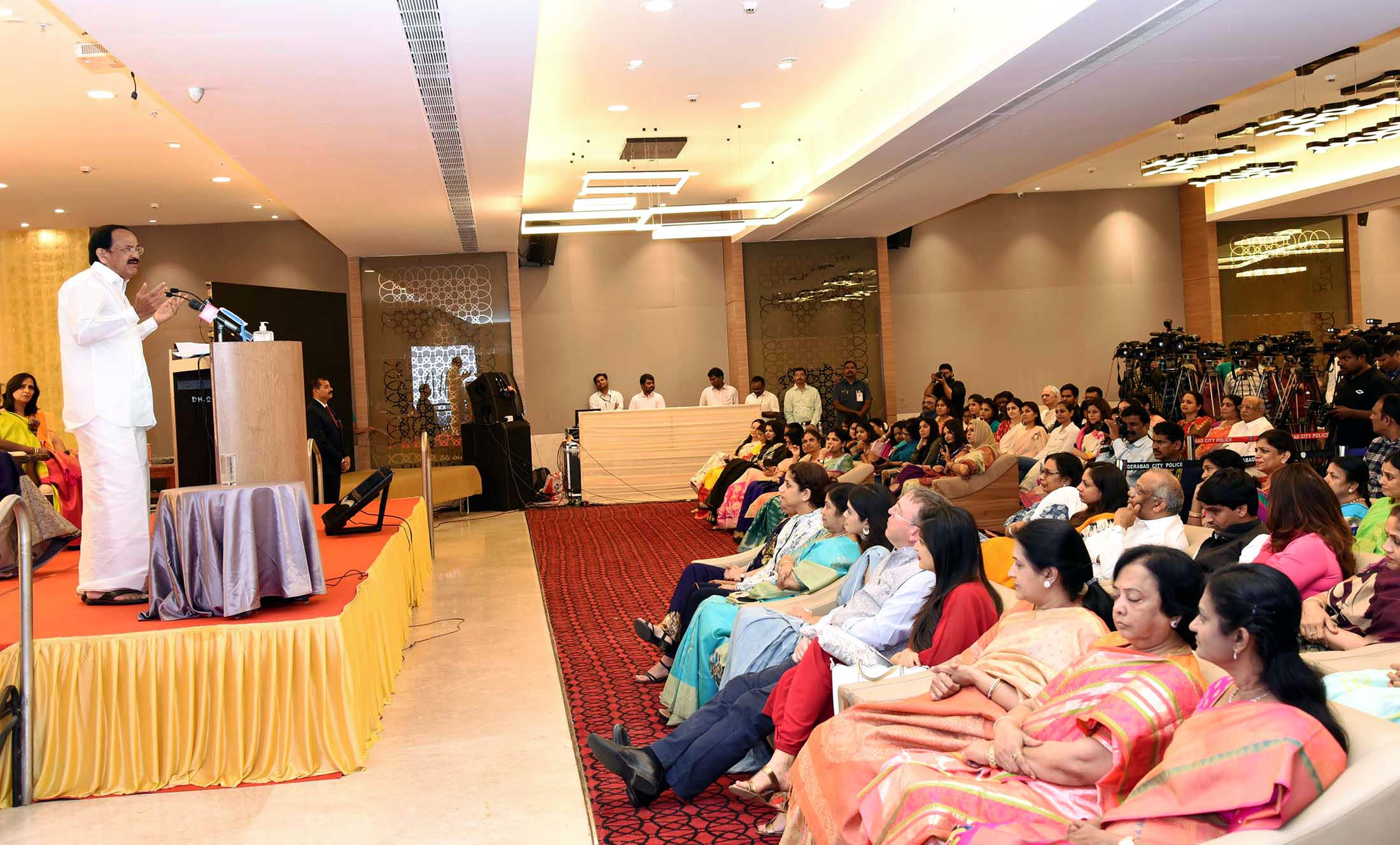The Vice President, Shri M. Venkiah Naidu addressing the gathering during the inaugural of iWIN (International Women Network) – a portal conceived by Foundation of Futuristic Cities, in Hyderabad, on 08 March, 2020.