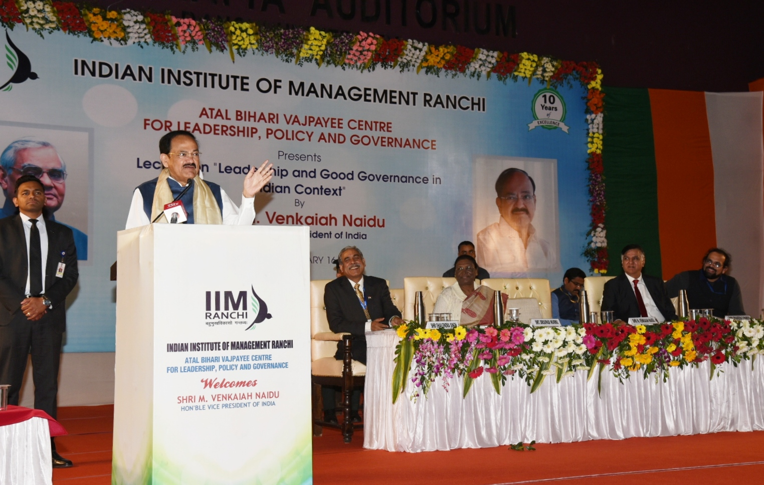 The Vice President, Shri M. Venkaiah Naidu delivering the lecture on 'Leadership and Good Governance in Indian Context', organised by Atal Bihari Vajpayee Centre for Leadership, Policy and Governance, IIM in Ranchi, on 16 February, 2020.