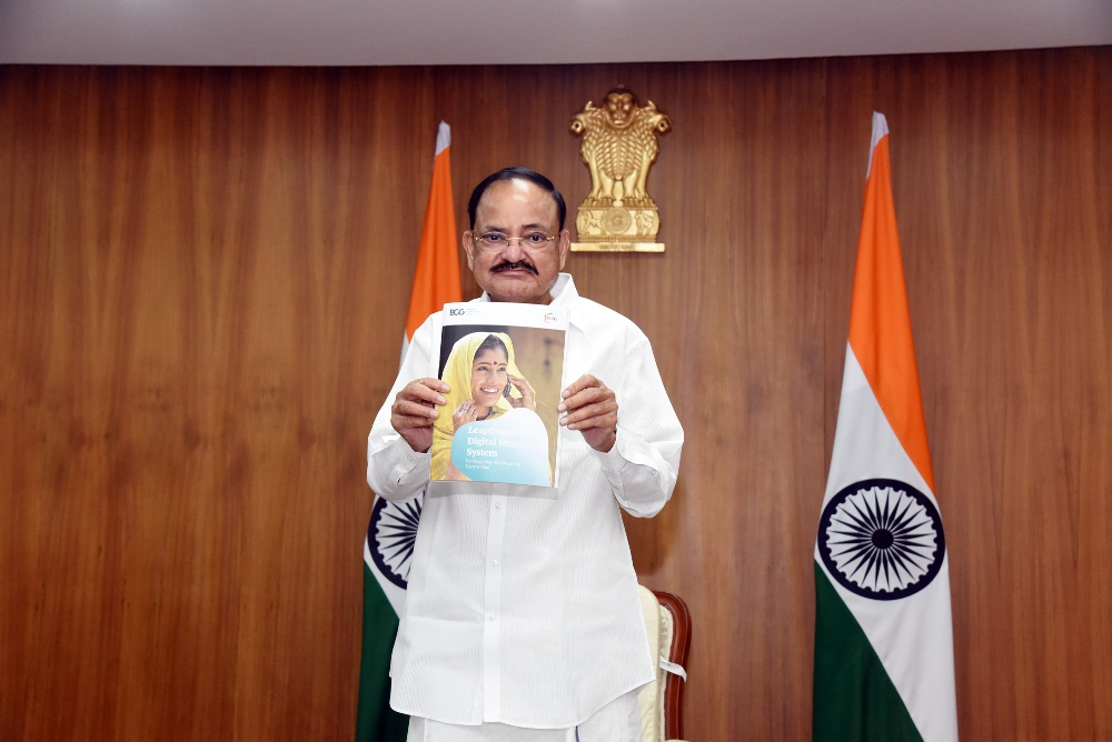 The Vice President, Shri M. Venkaiah Naidu releasing the report 'Leapfrogging to a Digital Healthcare System: Re-imagining Healthcare for Every Indian' brought out by FICCI-BCG during the online inauguration of 14th edition of FICCI HEAL at Upa-Rashtrapati Nivas in New Delhi on 29 September, 2020.