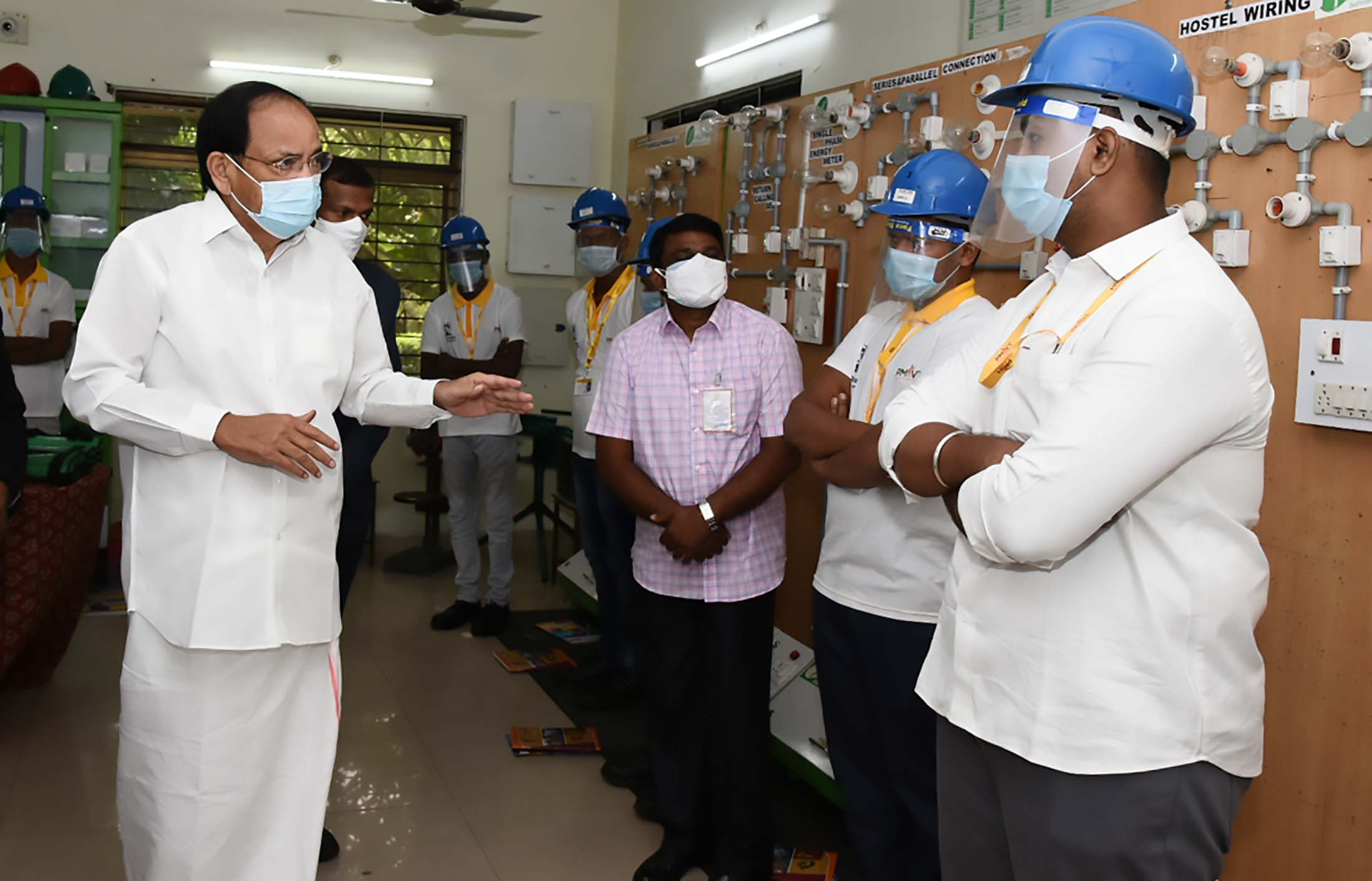 The Vice President, Shri M. Venkaiah Naidu interacting with trainees at GMR Varalakshmi Foundation's Centre for Empowerment and Livelihoods in Hyderabad on August 1, 2021