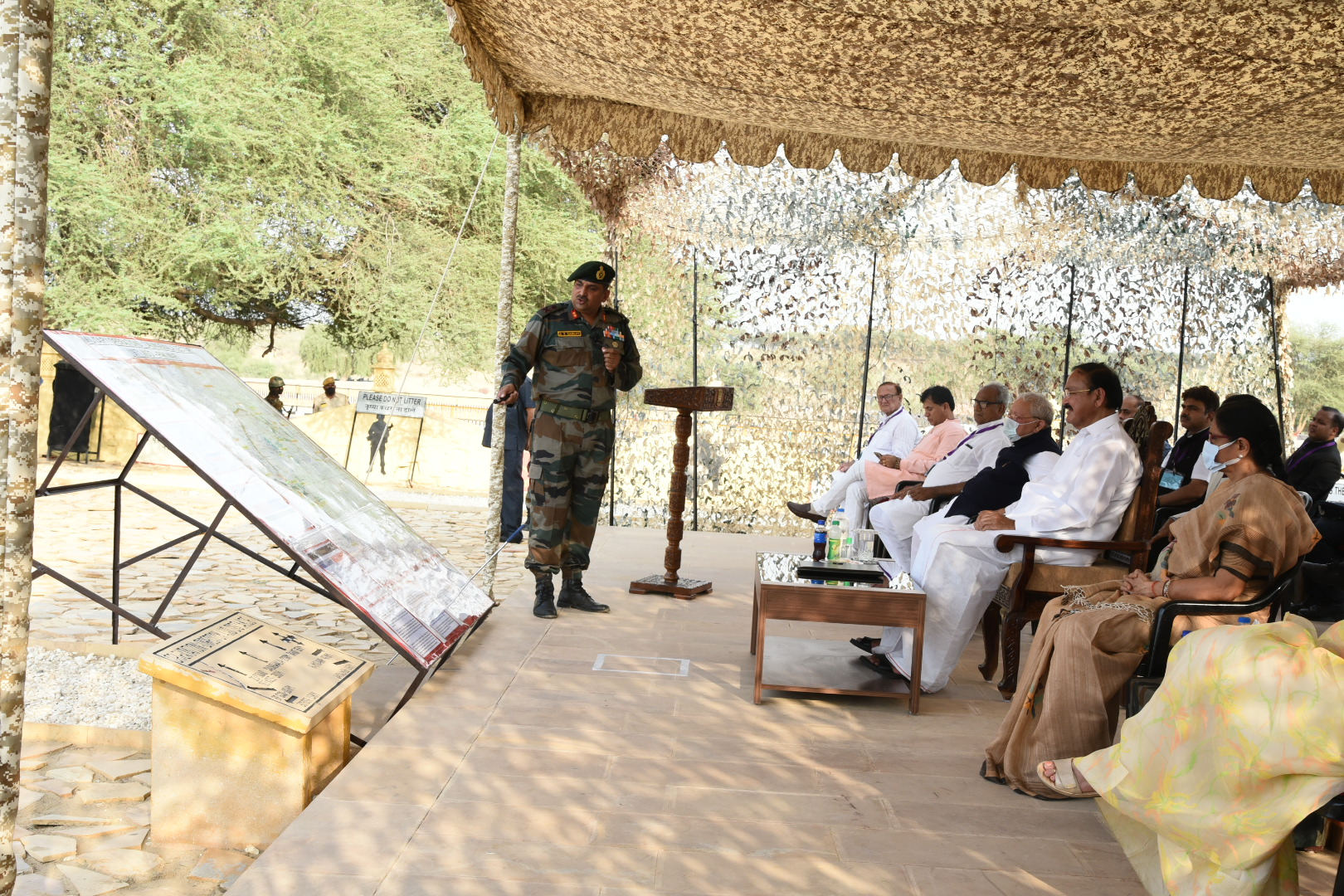 The Vice President, Shri M. Venkaiah Naidu, being briefed at the historic at the historic Laungewala Battle Site in Jaisalmer, Rajasthan on September 26, 2021.