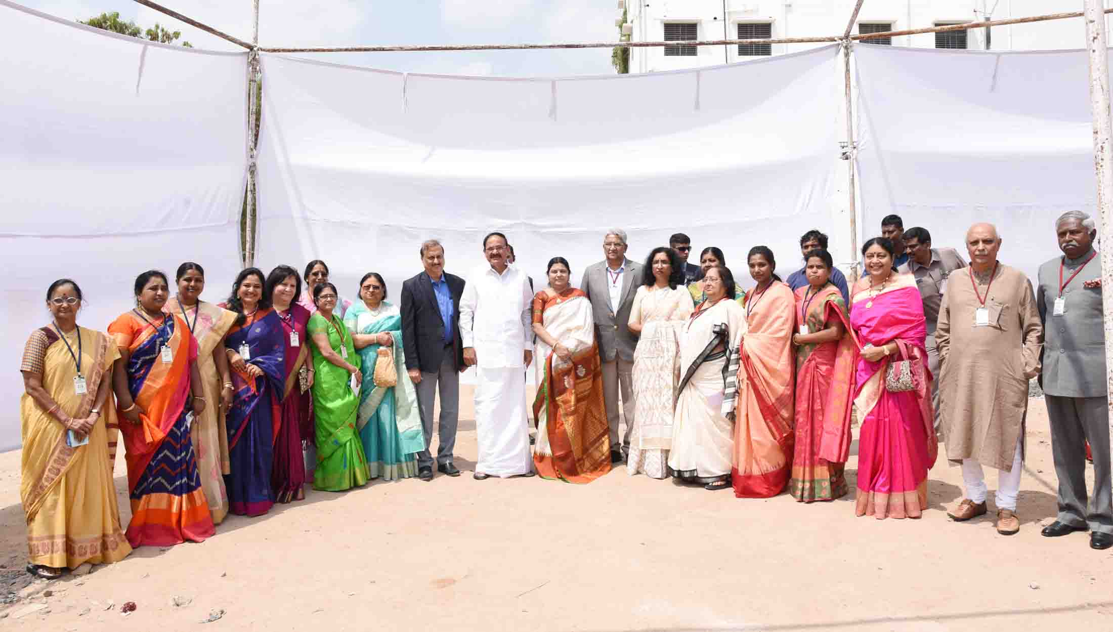 The Vice President, Shri M. Venkaiah Naidu in a group photograph at the Women's Day celebrations, organised by Durgabai Deshmukh Mahila Sabha (formerly Andhra Mahila Sabha) – P.Obul Reddy Public School, in Hyderabad on March 08, 2020.