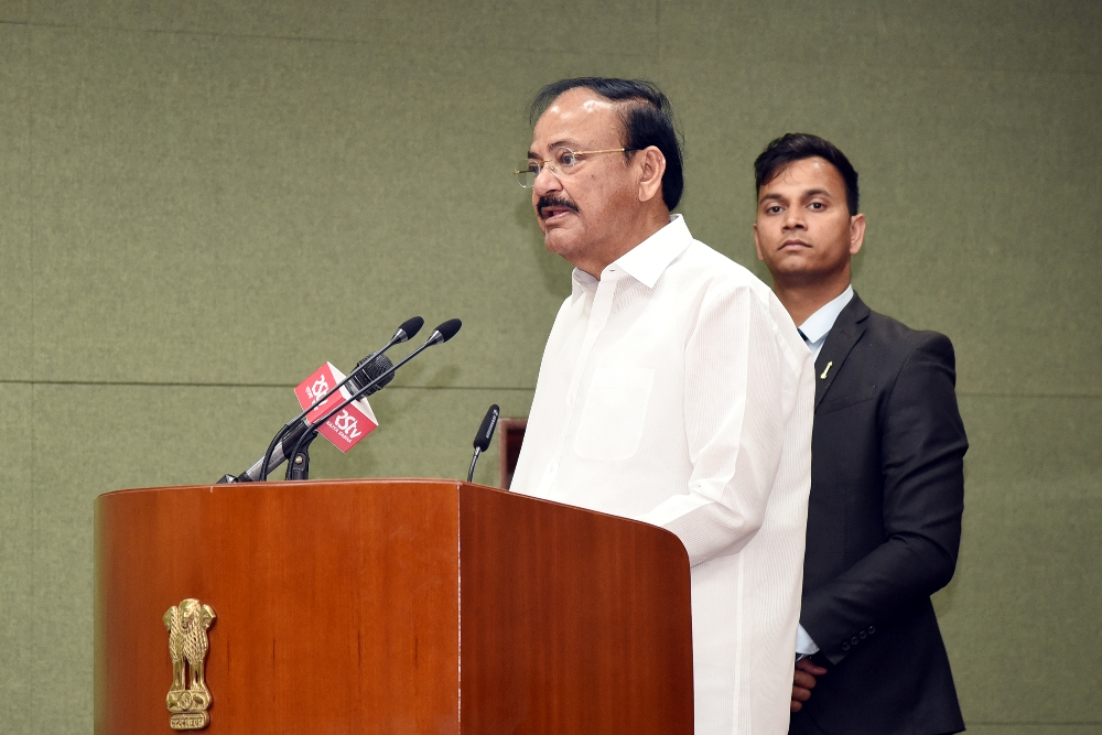 The Vice President, Shri M. Venkaiah Naidu addressing  the sportspersons from Punjab University who won in the recently held Khelo India University Games, at Upa-Rashtrapati Bhawan, New Delhi on 12 March, 2020.