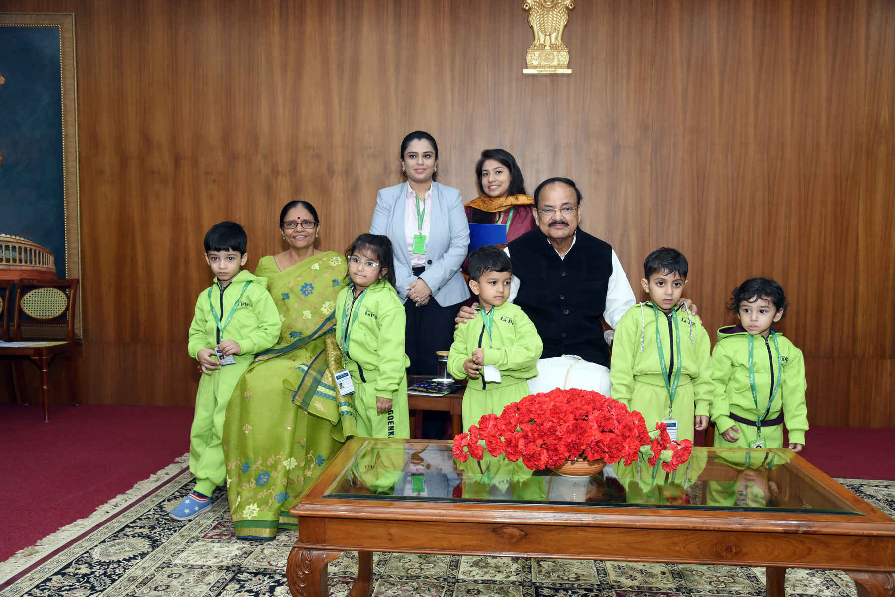 The Vice President, Shri M. Venkaiah Naidu interacting with students from various school from across National Capital Region, Haryana, Uttar Pradesh and other Neighbouring states on the occasion of Children's Day, in New Delhi on 14 November, 2019.