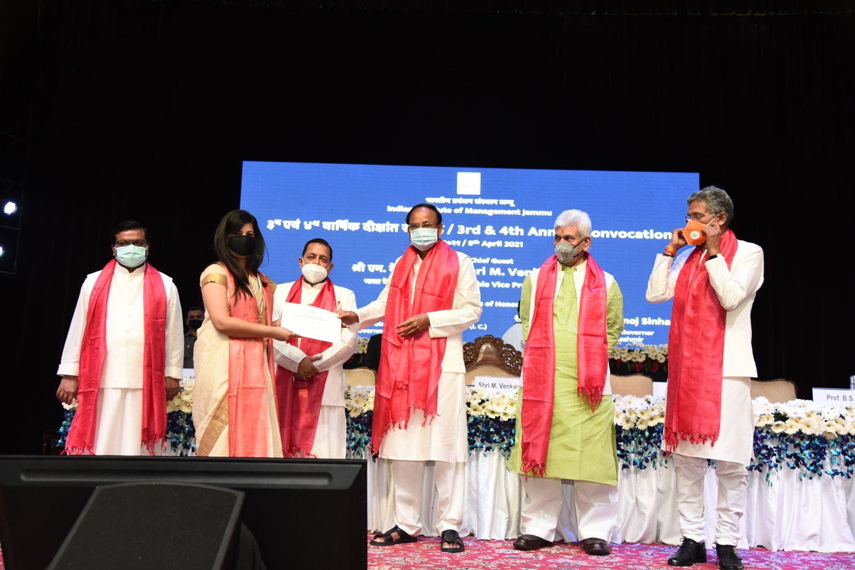 The Vice President, Shri M. Venkaiah Naidu at the 3rd and 4th Convocation ceremony of IIM Jammu, in Jammu on April 09, 2021. The Lieutenant Governor of Jammu and Kashmir, Shri Manoj Sinha and the Minister of State for Development of North Eastern Region (I/C), Prime Minister's Office, Personnel, Public Grievances & Pensions, Atomic Energy and Space, Dr. Jitendra Singh are also seen.