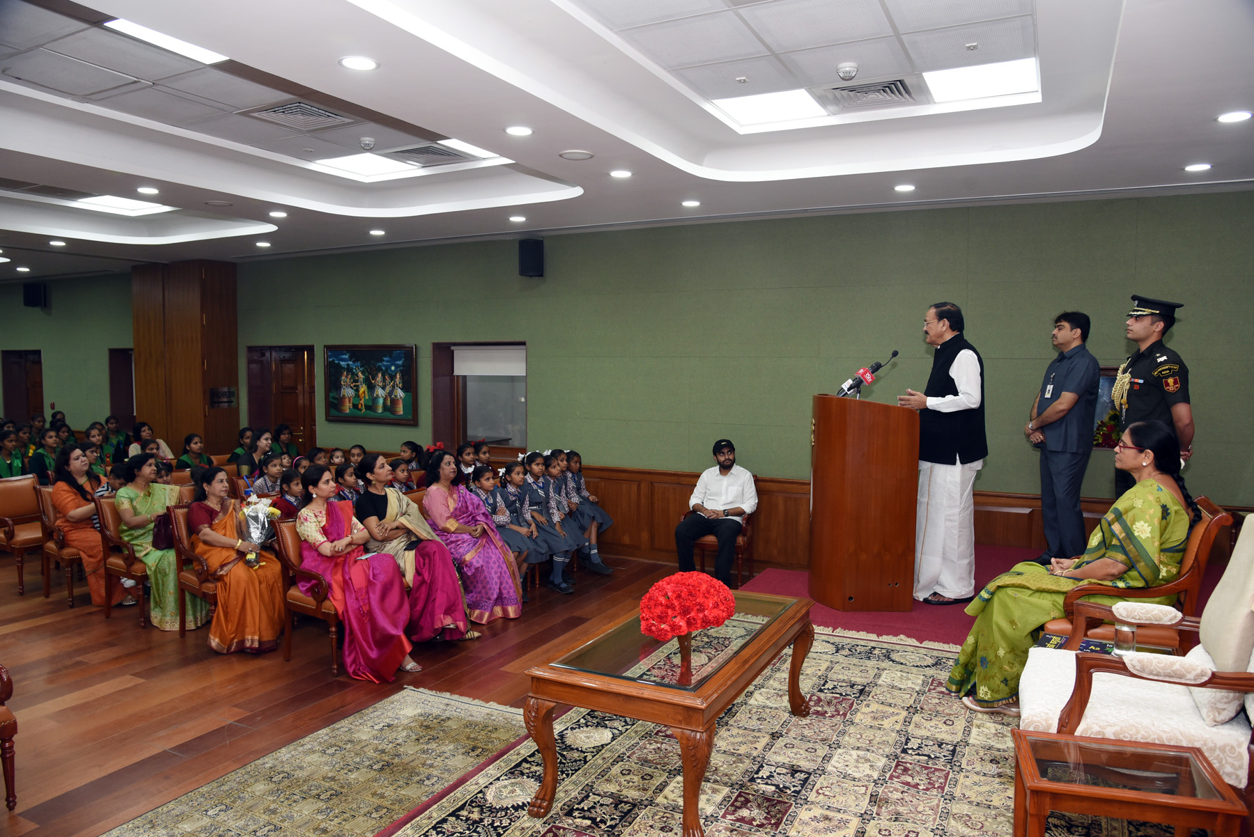 The Vice President, Shri M. Venkaiah Naidu addressing the students from various school from across National Capital Region, Haryana, Uttar Pradesh and other Neighbouring states on the occasion of Children's Day, in New Delhi on 14 November, 2019.