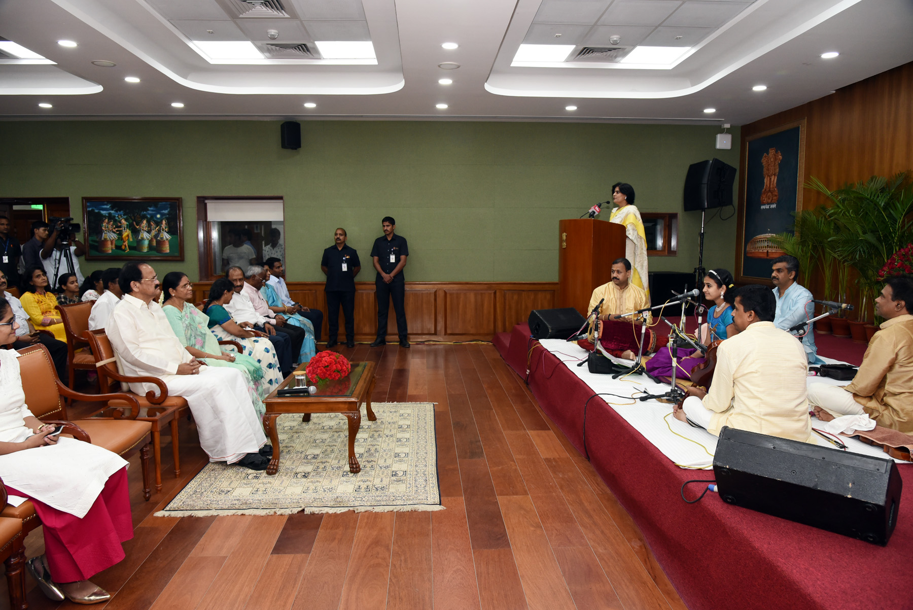 The Vice President, Shri M. Venkaiah Naidu and Smt. Usha Naidu at an event of rendition of Classical Bhajan Concert by Vocalist, Ms. Sooryagayathri, in New Delhi on September 09, 2019.
