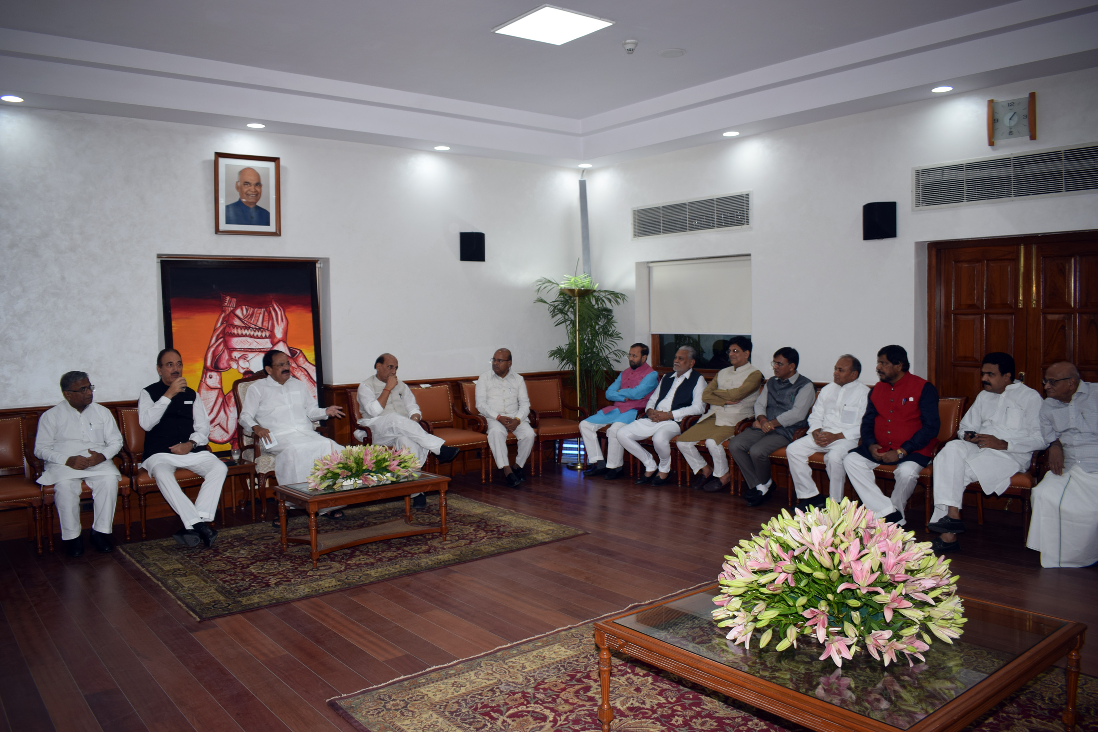 The Vice President, Shri M. Venkaiah Naidu at a Luncheon Meeting hosted by him to the Floor Leaders of Rajya Sabha, in New Delhi on June 20, 2019. The Deputy Chairman of Rajya Sabha, Shri Harivansh, the Leader of the House, Shri Thaawar Chand Gehlot, the Leader of the Opposition, Shri Gulam Nabi Azad, the Union Minister for Defence, Shri Rajnath Singh, the Union Minister for Parliamentary Affairs, Coal and Mines, Shri Pralhad Joshi, the Union Minister for Railways and Commerce & Industry, Shri Piyush Goyal,