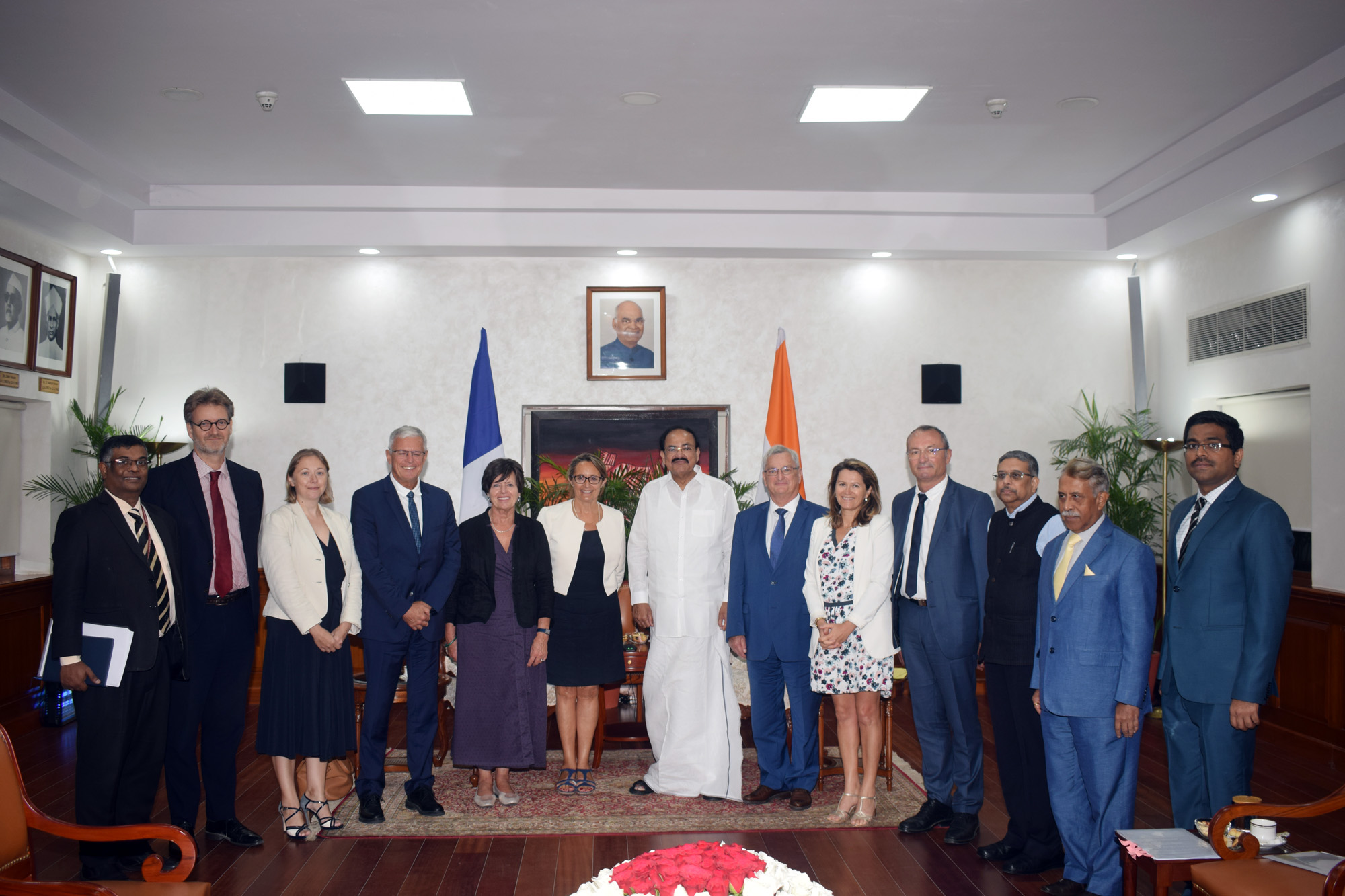 The Vice President, Shri M. Venkaiah Naidu with the delegation of French Parliamentarians led by Mrs. Sophie Primas, the Chair, Senate Standing Committee for Economic Affairs, in New Delhi on September 09, 2019.