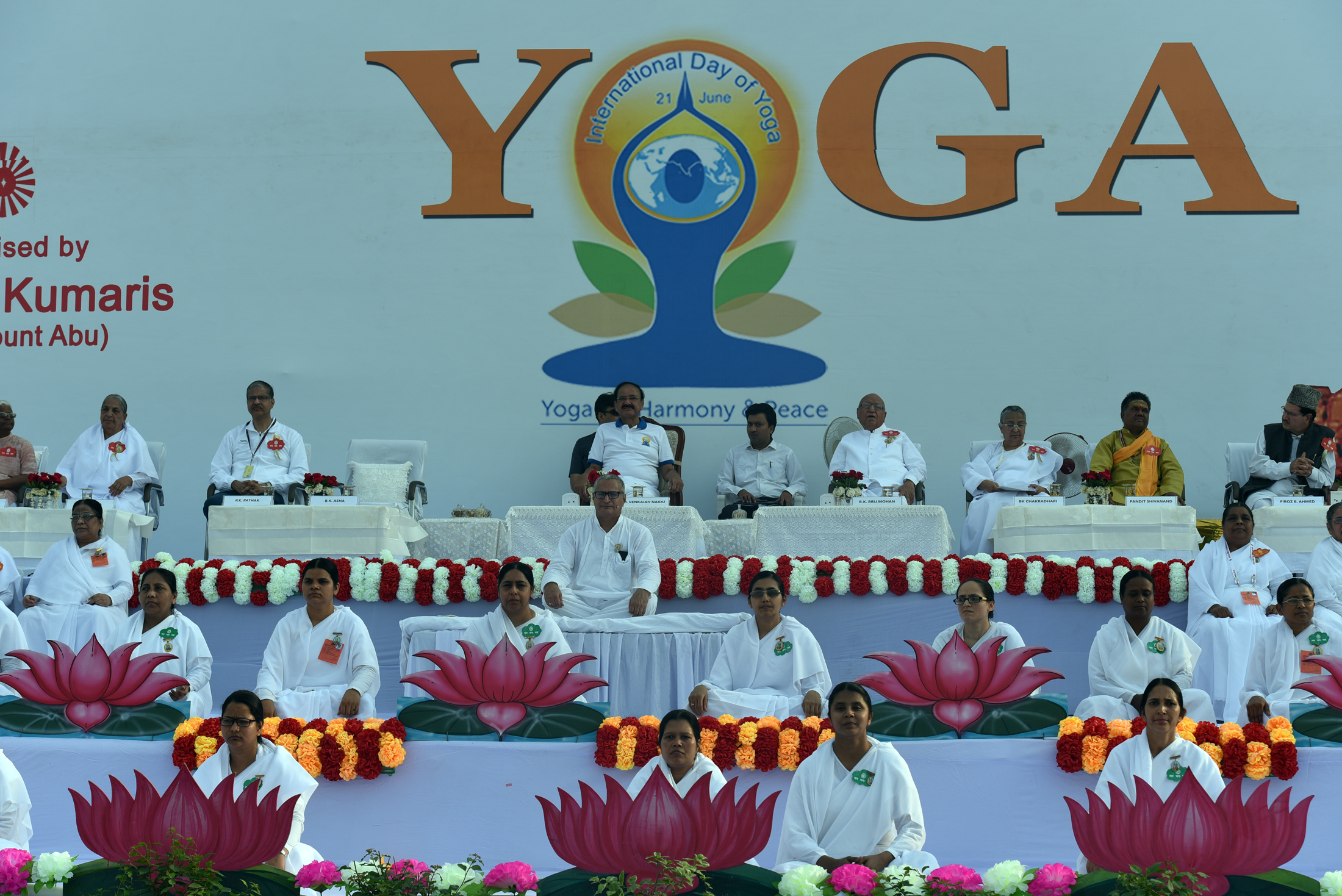 The Vice President, Shri M. Venkaiah Naidu at the International Day of Yoga celebrations organized by Prajapita Brahma Kumaris Vishwa Vidyalaya, at the Red Fort grounds, in Delhi on June 21, 2019.