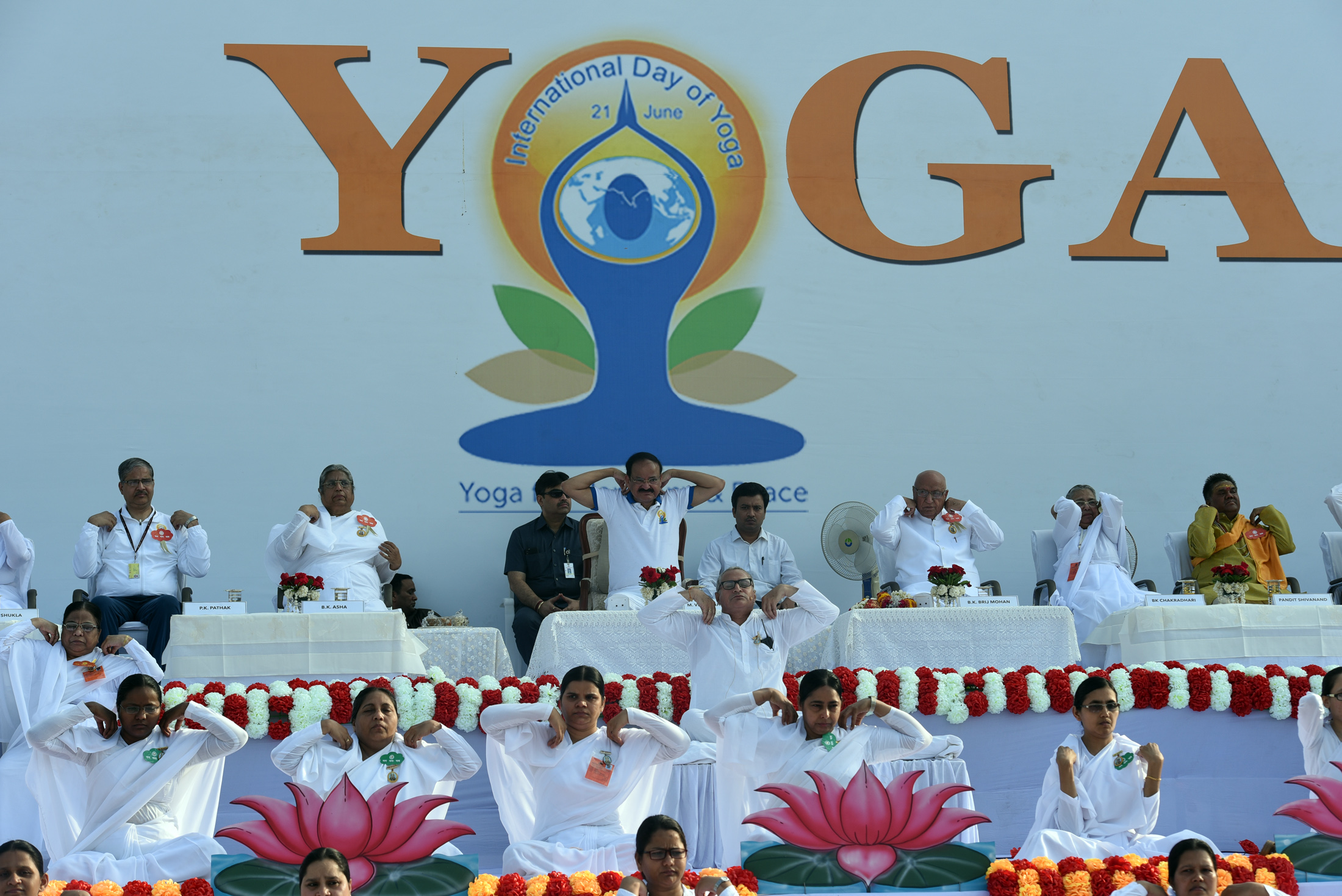 The Vice President, Shri M. Venkaiah Naidu practicing Yoga Aasanas at the International Day of Yoga celebrations organized by Prajapita Brahma Kumaris Vishwa Vidyalaya, at the Red Fort grounds, in Delhi on June 21, 2019.