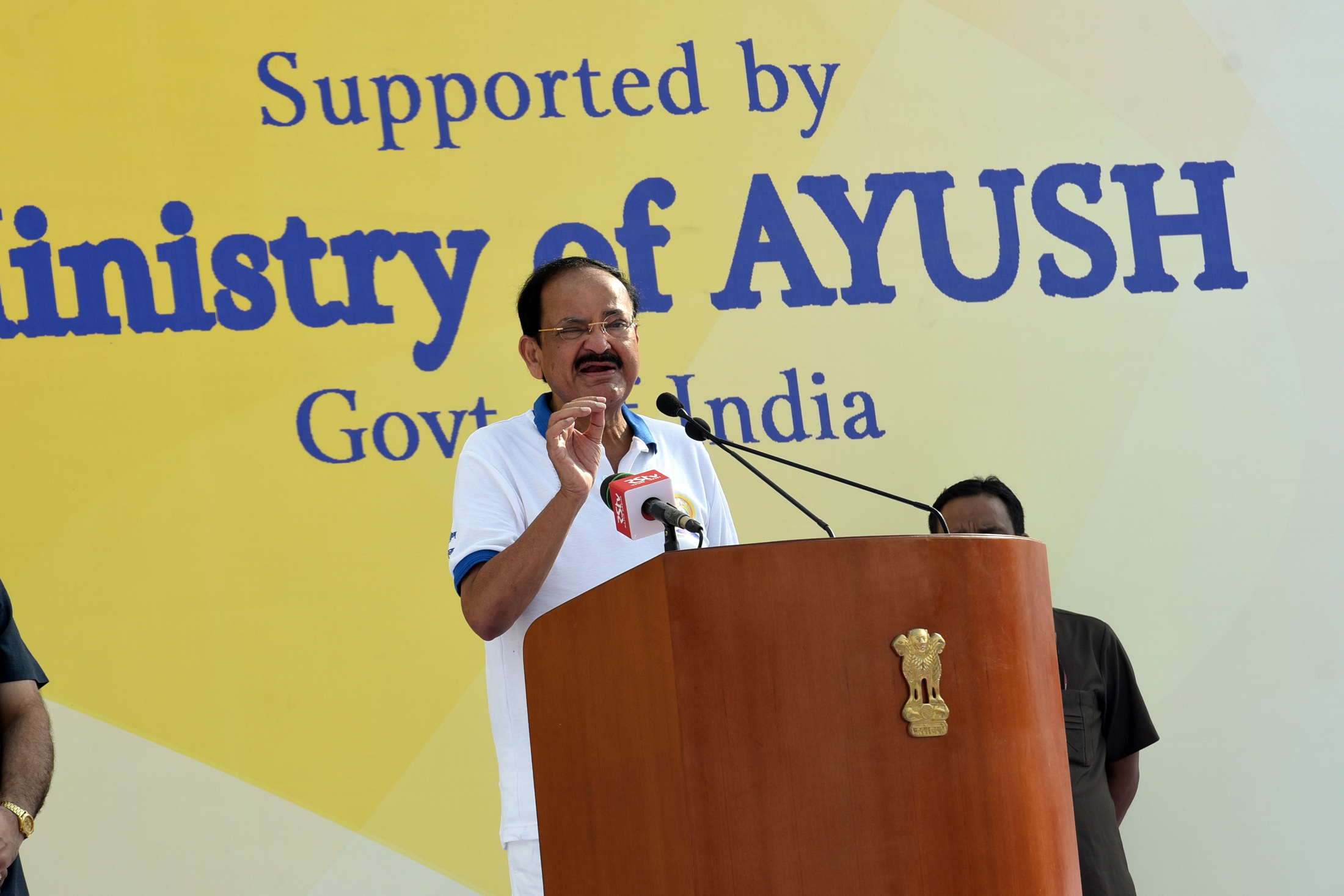 The Vice President, Shri M. Venkaiah Naidu addressing the gathering at the International Day of Yoga celebrations organized by Prajapita Brahma Kumaris Vishwa Vidyalaya, at the Red Fort grounds, in Delhi on June 21, 2019.