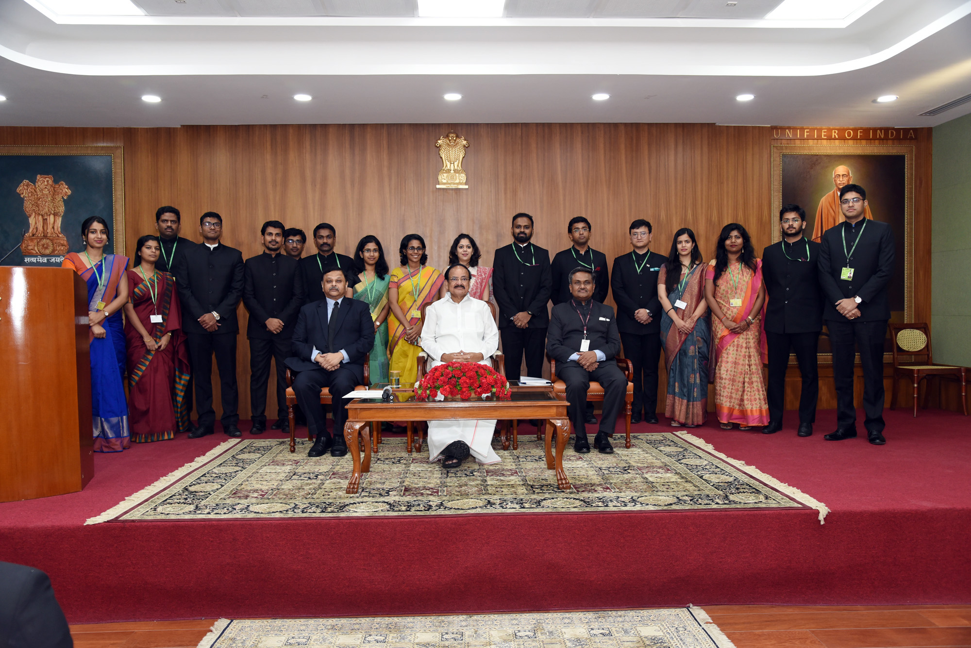 The Vice President, Shri M. Venkaiah Naidu with a group of Officers of the 2017 batch of Indian Administrative Service (IAS), in New Delhi on September 12, 2019.