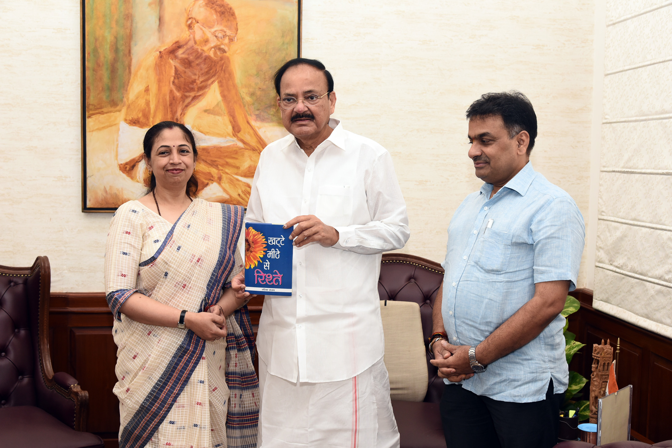 """The Vice President, Shri M. Venkaiah Naidu receiving a Book titled """"Khatte Meethe Se Risthe"""" authored by Smt. Garima Sanjay, in New Delhi on July 16, 2019."""