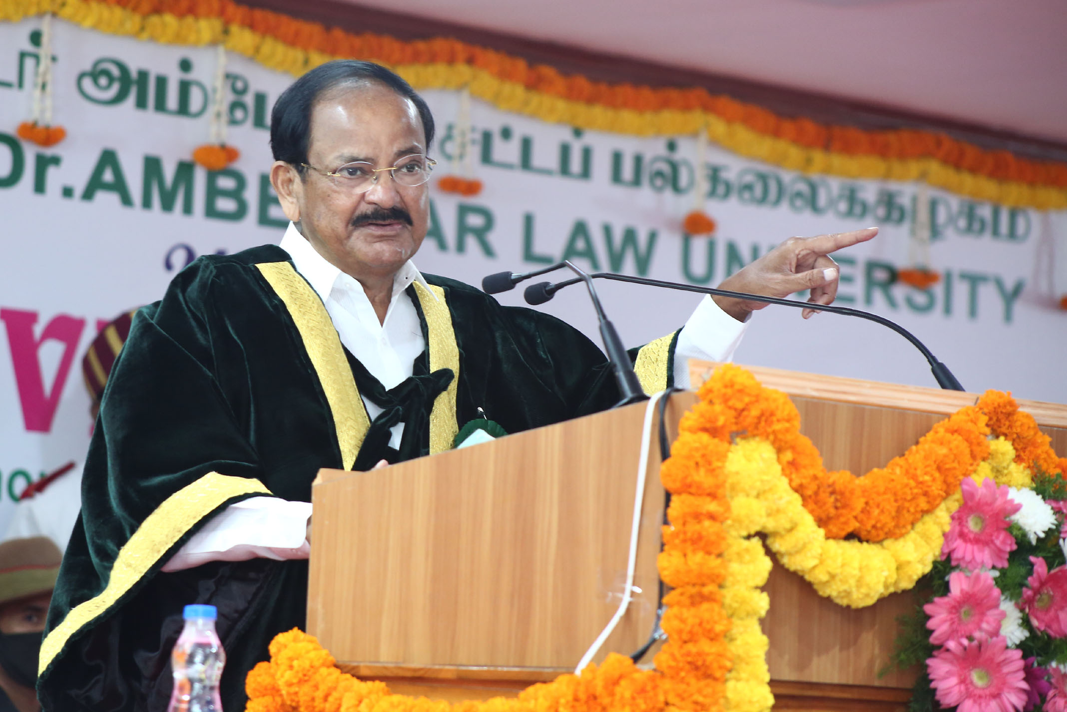 The Vice President, Shri M. Venkaiah Naidu addressing at the 11th Convocation of the Tamil Nadu Dr. Ambedkar Law University, in Chennai, Tamil Nadu on February 27, 2021.