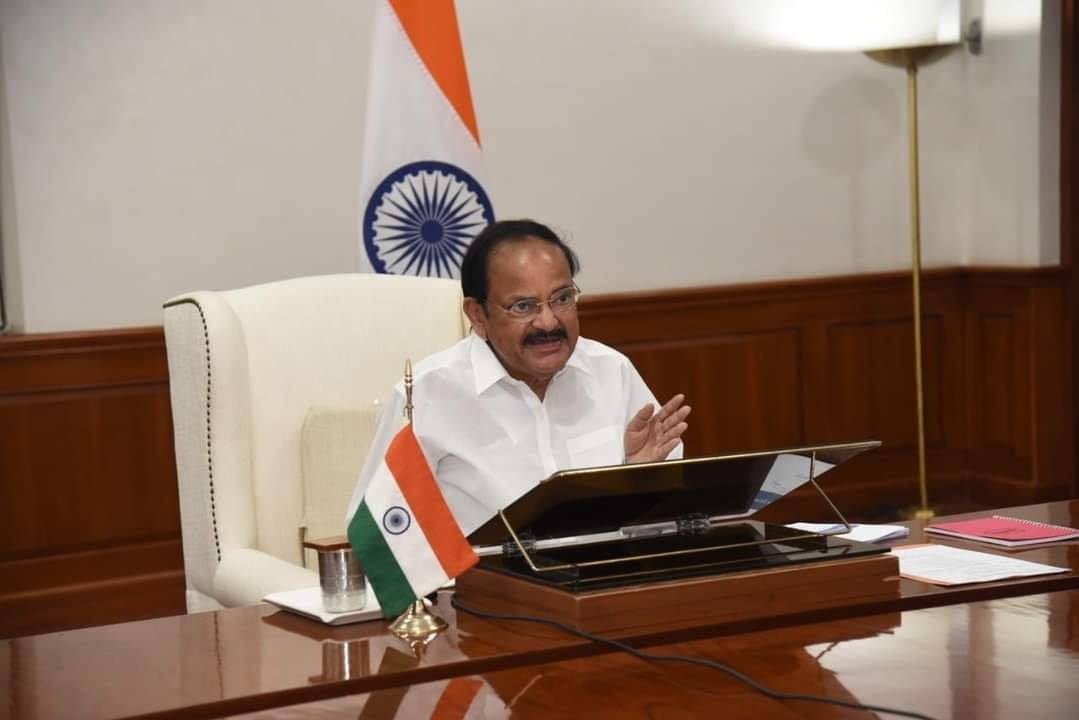 The Vice President, Shri M. Venkaiah Naidu addressing the Governors on COVID-19 situation and Vaccination Drive in the country through video conferencing, in New Delhi on April 14, 2021.