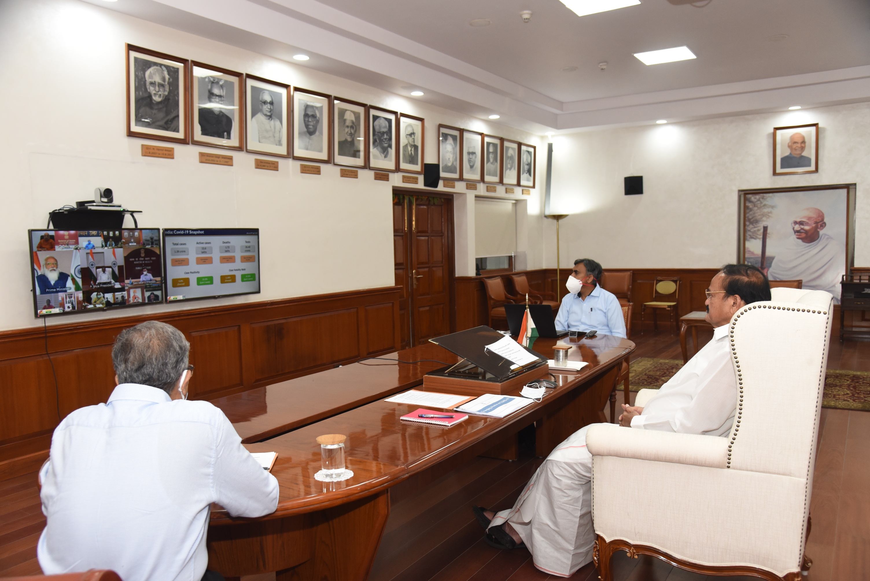 The Vice President, Shri M. Venkaiah Naidu during video conference with the Governors on COVID-19 situation and Vaccination Drive in the country, in New Delhi on April 14, 2021.