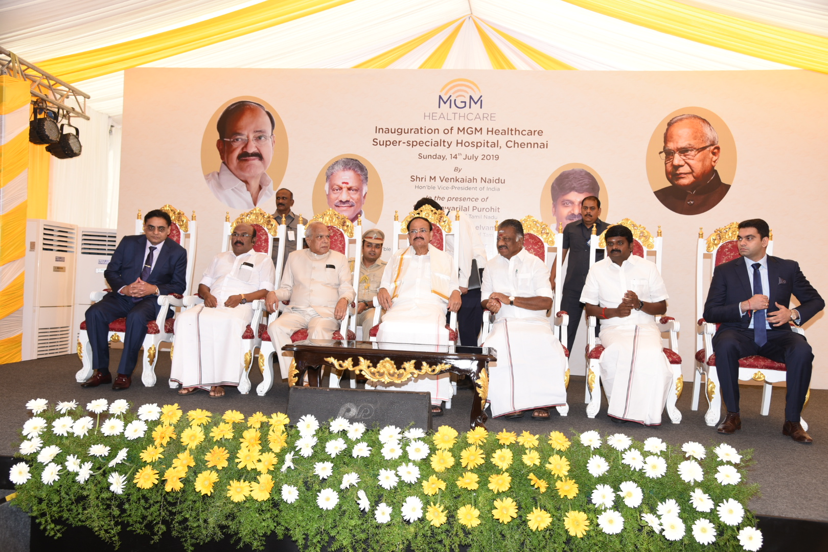 The Vice President, Shri M. Venkaiah Naidu at an event to inaugurate MGM Healthcare Super Specialty Hospital, in Chennai on July 14, 2019. The Governor of Tamil Nadu, Shri Banwarilal Purohit, the Deputy Chief Minister of Tamil Nadu, Shri O. Panneerselvam, the Minister for Health and Family Welfare, Government of Tamil Nadu, Dr. C. Vijaya Baskar, the Minister for Fisheries, Shri D. Jayakumar and other dignitaries are also seen.