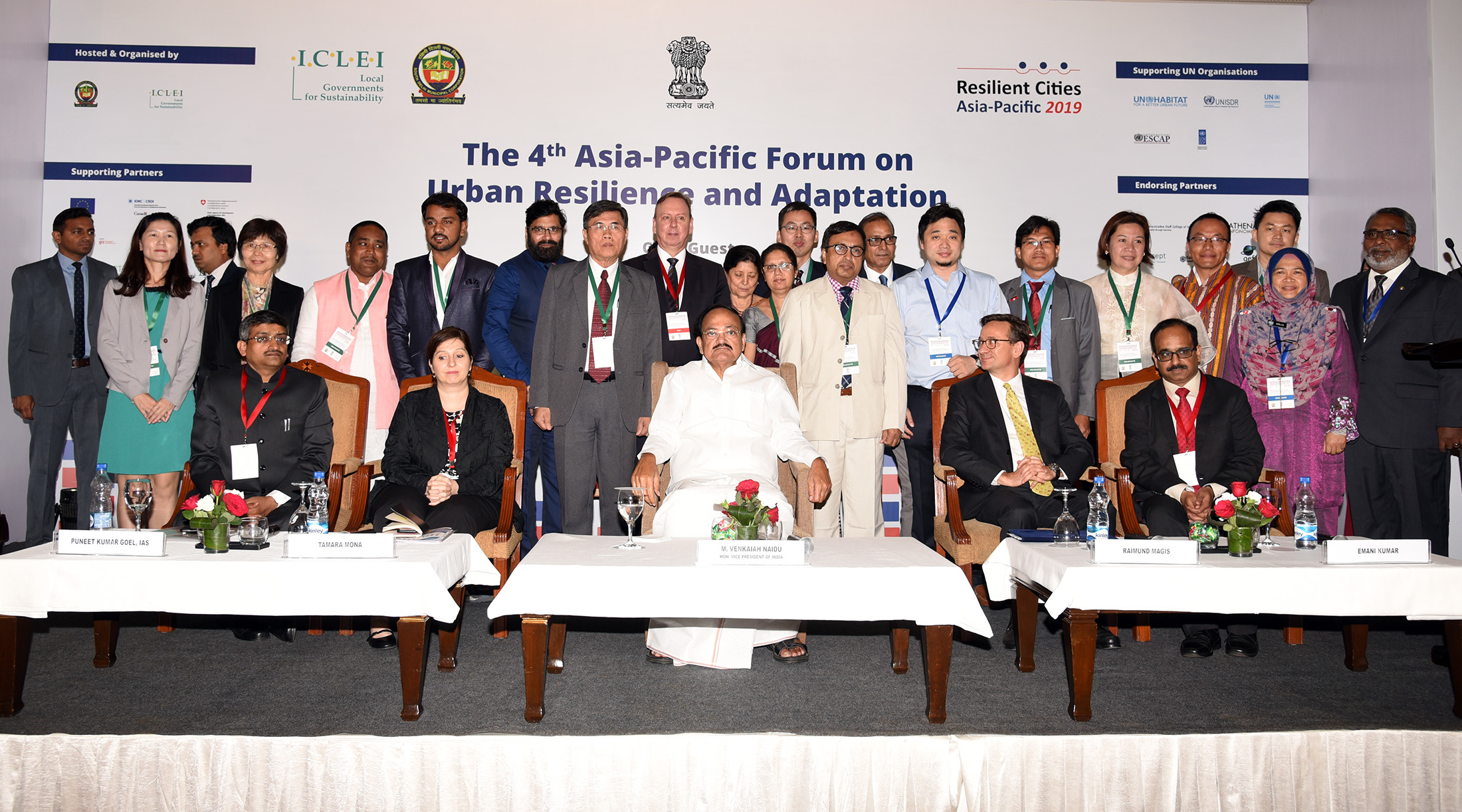 The Vice President, Shri M. Venkaiah Naidu with a group of participants at the 4th Resilient Cities Asia-Pacific Congress 2019, organized by the International Council for Local Environmental Initiatives, in New Delhi on April 15, 2019.