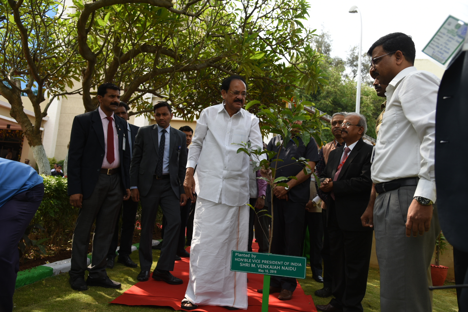The Vice President, Shri M. Venkaiah Naidu planting a sapling in the premises of the Atomic Minerals Directorate for Exploration and Research, in Hyderabad on May 16, 2019.