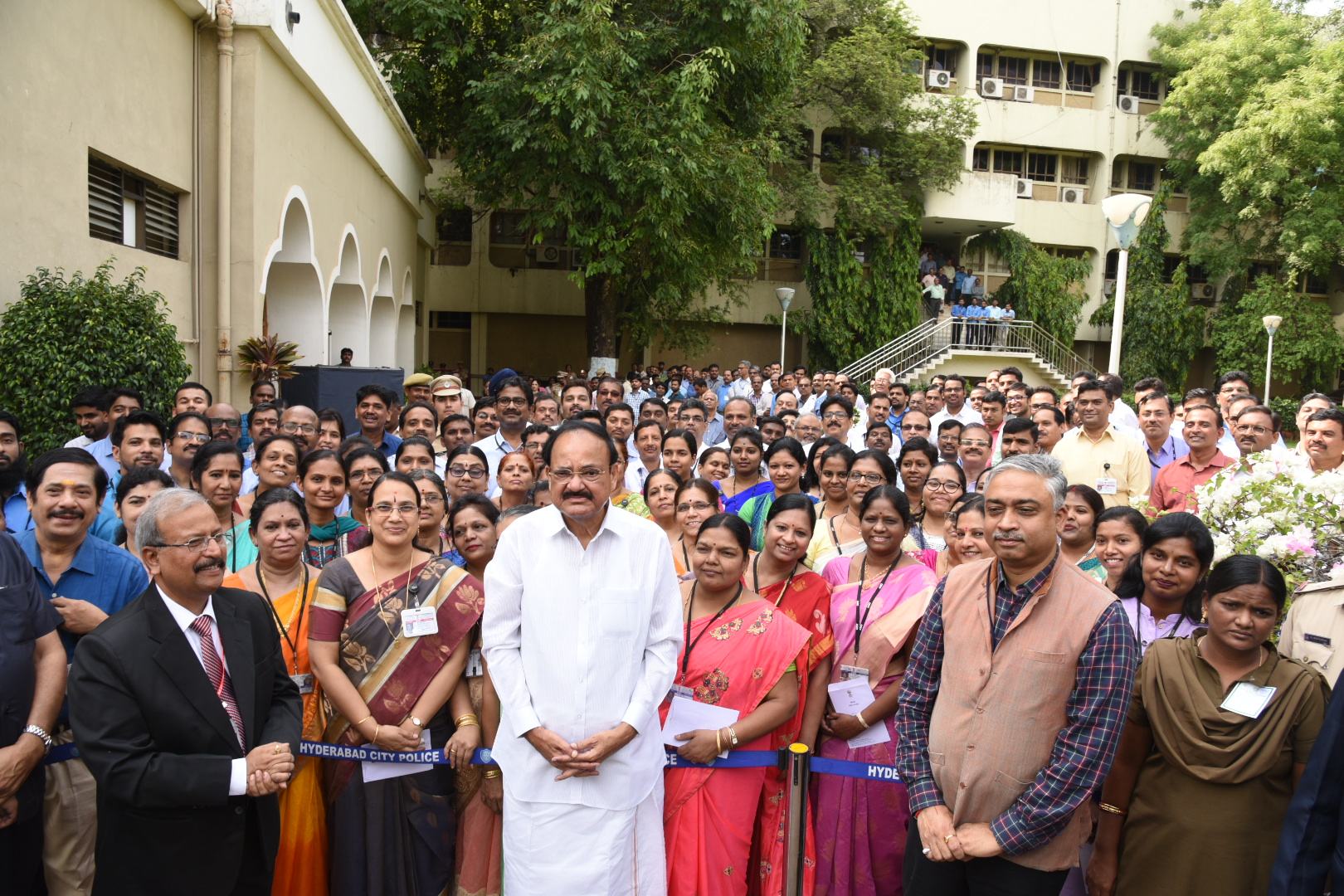 The Vice President, Shri M. Venkaiah Naidu with the Staff and others at the Atomic Minerals Directorate for Exploration and Research, in Hyderabad on May 16, 2019.