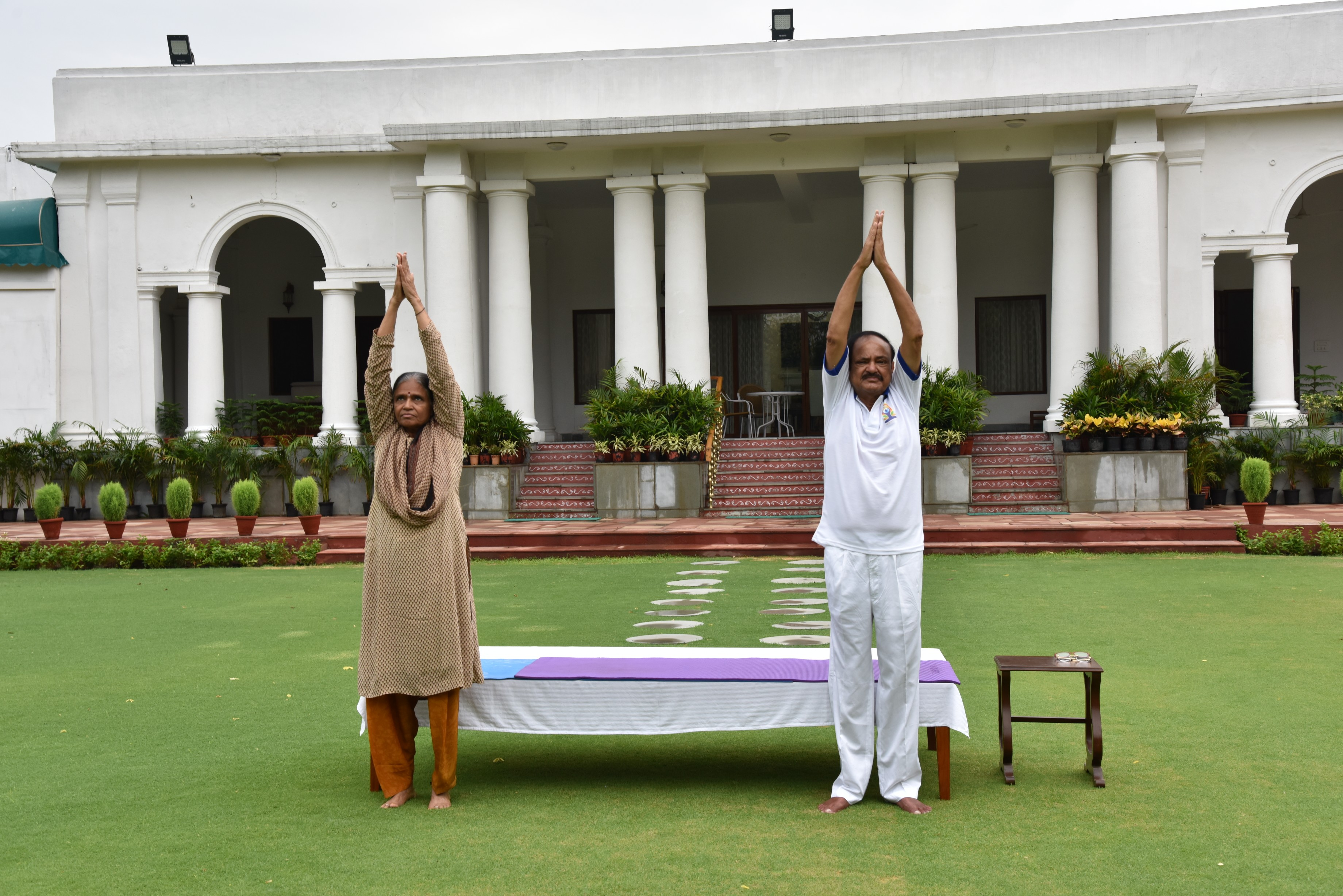 The Vice President of India, Shri M. Venkaiah Naidu and his wife Smt. Ushamma performing Yoga, on the occasion of International Day of Yoga, at Upa-Rashtrapati Bhawan, in New Delhi on 21 June, 2020.