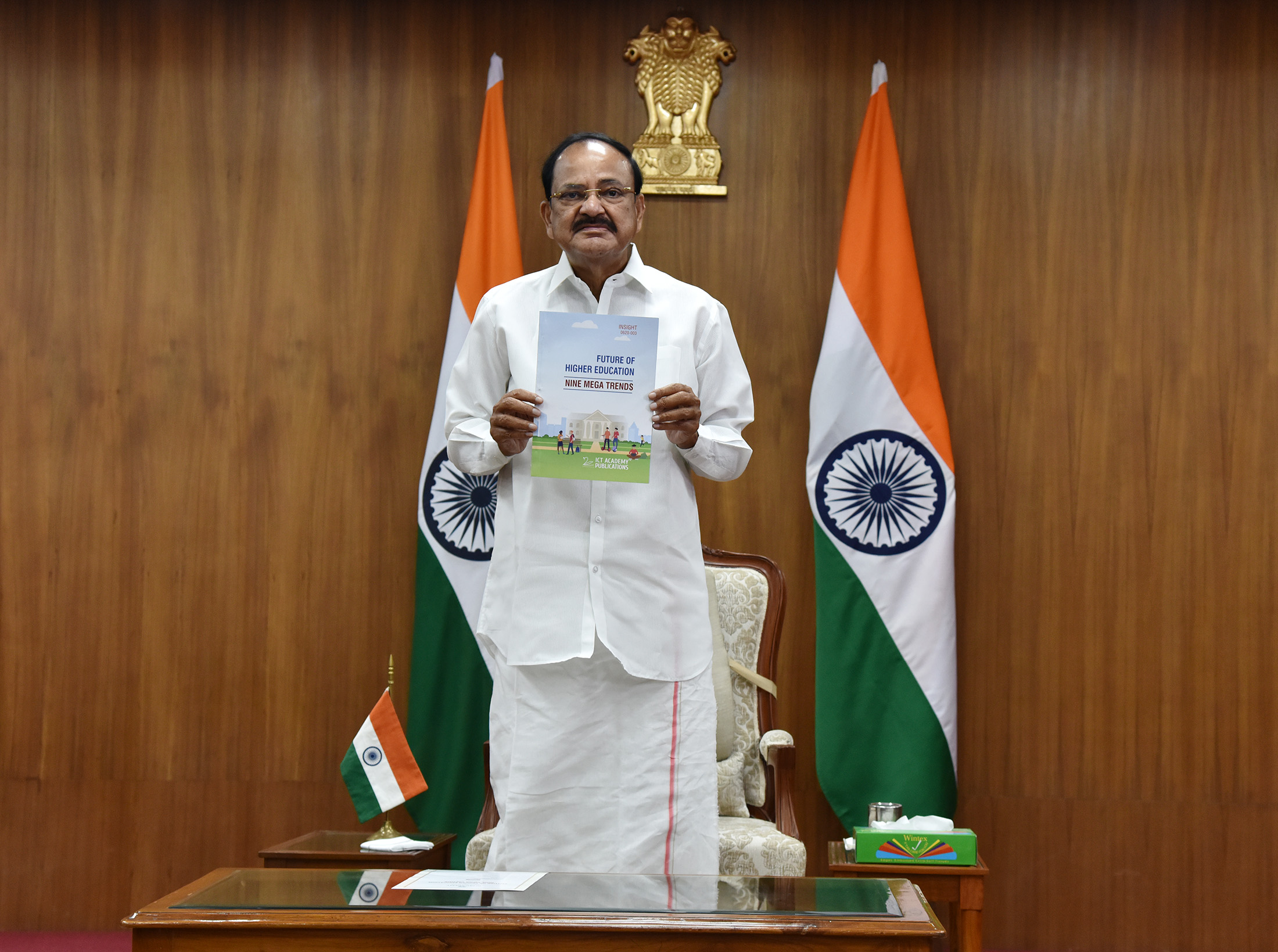 """The Vice President, Shri M Venkaiah Naidu virtually releasing the book titled """"Future of Higher Education - Nine Megatrends"""", brought out by ICT Academy, through video conferencing, at Upa-Rashtrapati Bhavan, in New Delhi on 30 June, 2020."""