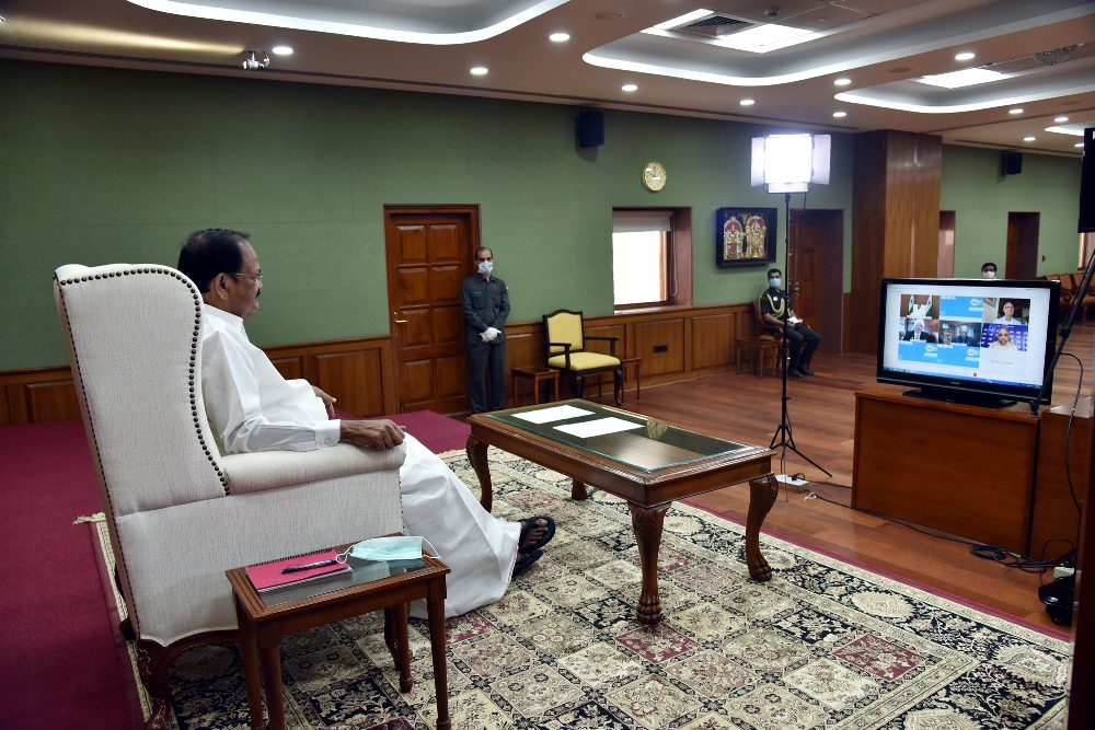 The Vice President, Shri M. Venkaiah Naidu at the inauguration of the CII's Green Building Congress 2020, through video conferencing, in New Delhi on October 29, 2020.