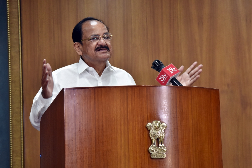 The Vice President, Shri M. Venkaiah Naidu addressing at the inauguration of the CII's Green Building Congress 2020, through video conferencing, in New Delhi on October 29, 2020.