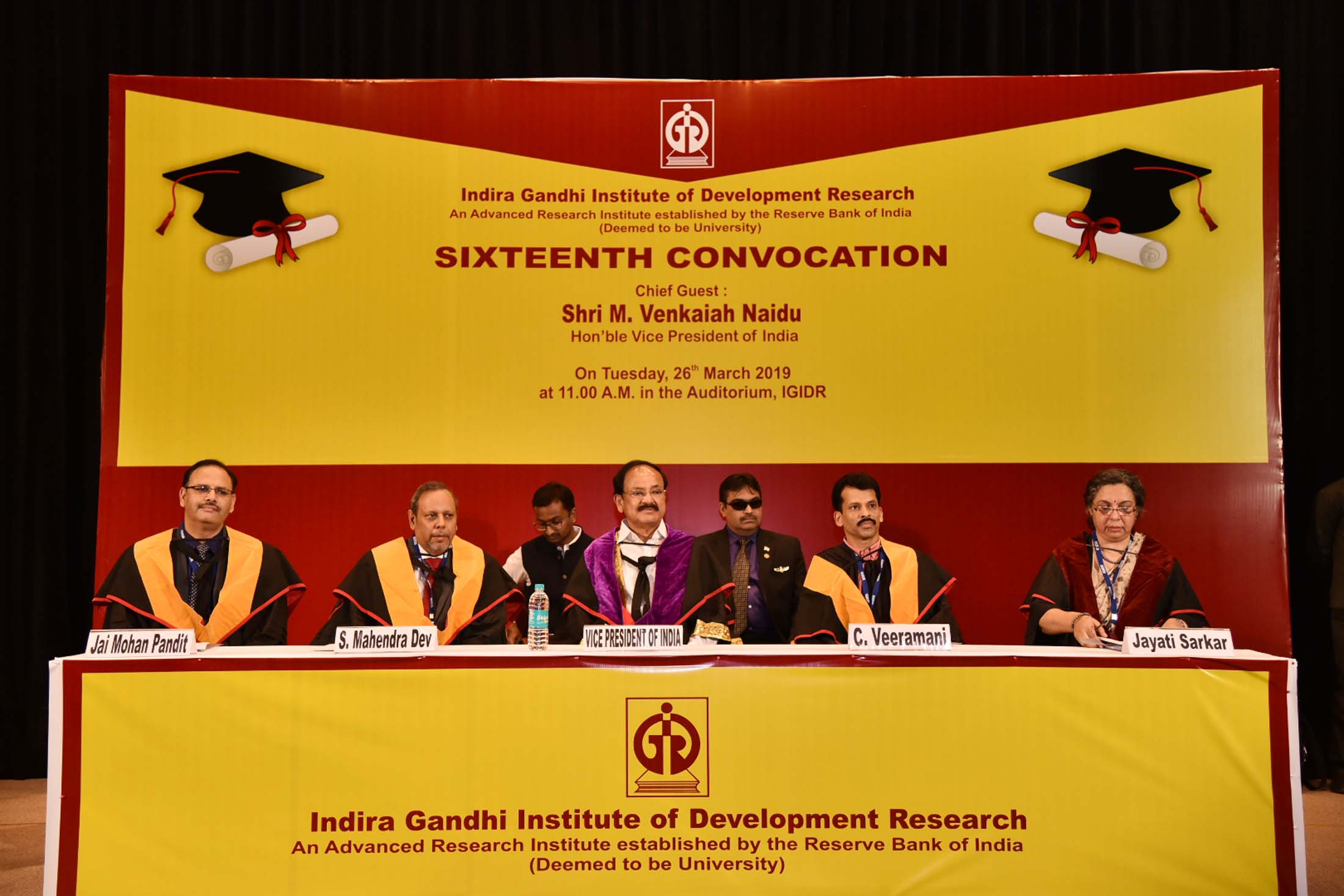 The Vice President, Shri M. Venkaiah Naidu at the 16th Convocation of the Indira Gandhi Institute of Development Research, in Mumbai on March 26, 2019.