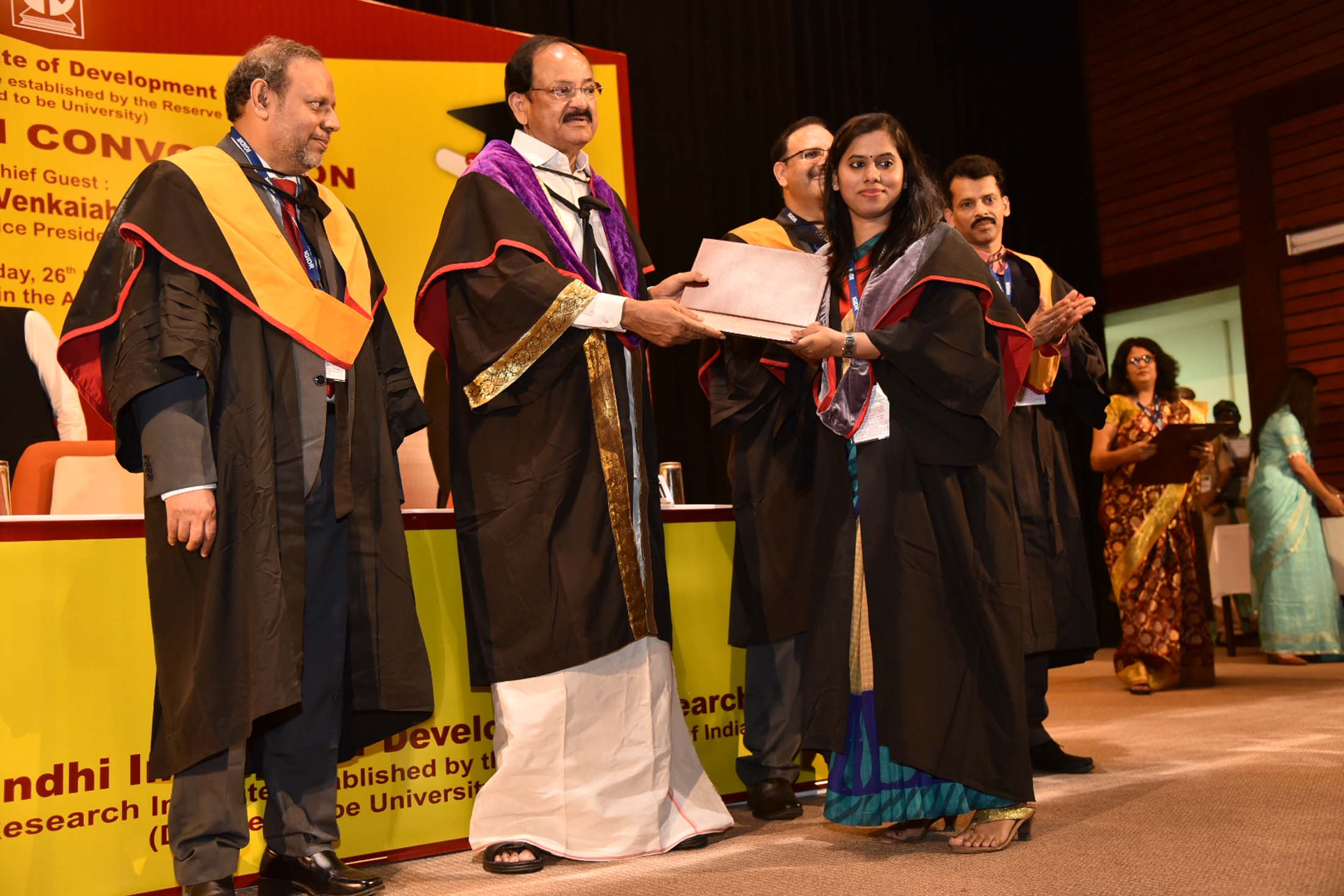 The Vice President, Shri M. Venkaiah Naidu presenting Degrees to the Students at the 16th Convocation of the Indira Gandhi Institute of Development Research, in Mumbai on March 26, 2019.