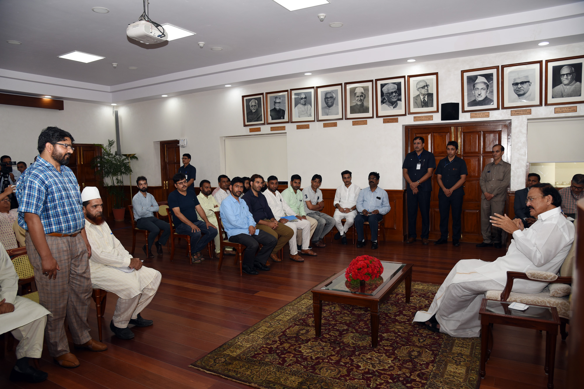 The Vice President, Shri M. Venkaiah Naidu interacting with the Sarpanches from Jammu and Kashmir, in New Delhi on September 10. 2019.