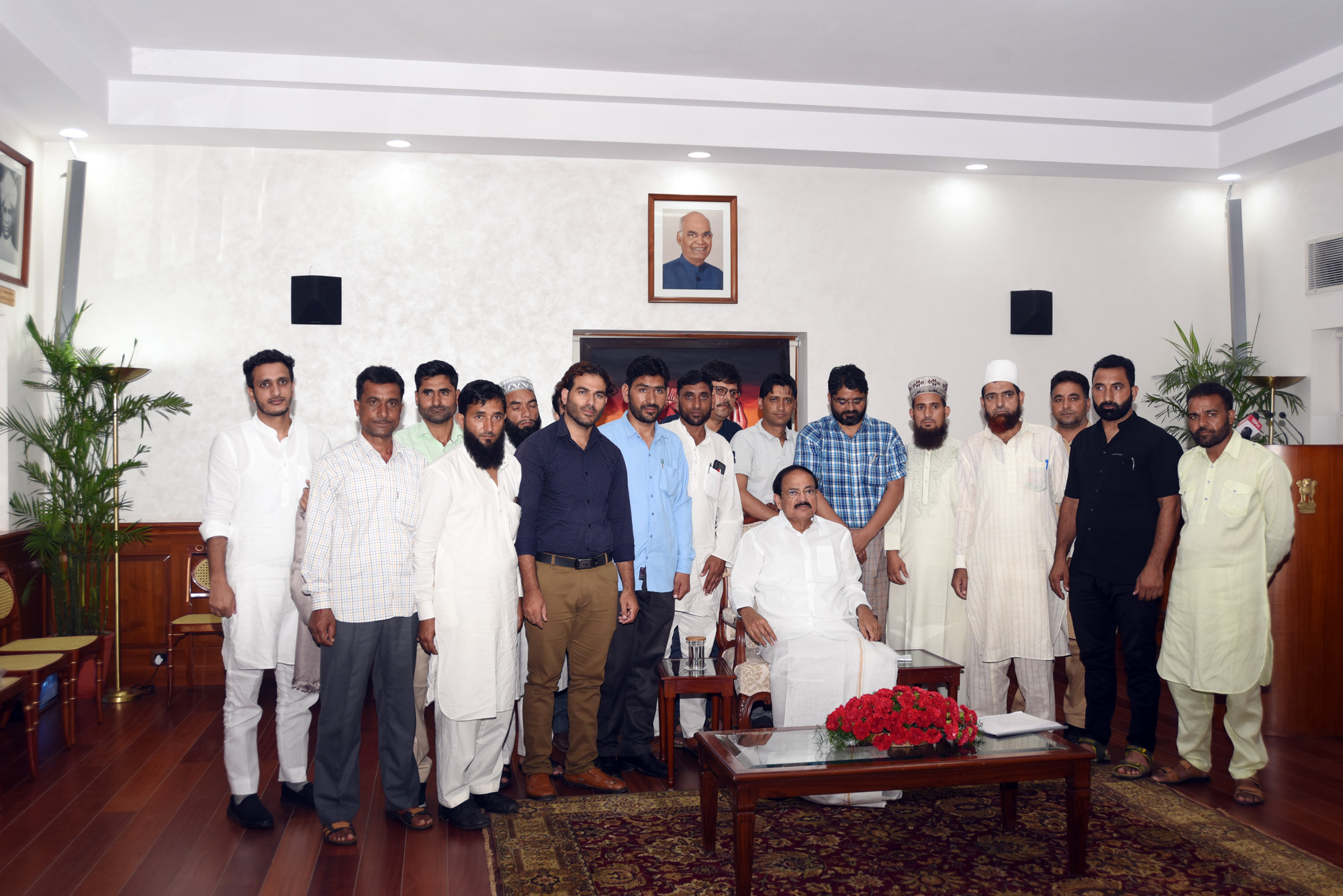 The Vice President, Shri M. Venkaiah Naidu with the delegation of Sarpanches from Jammu and Kashmir, in New Delhi on September 10. 2019.