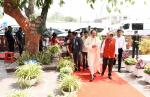 The Vice President of India Shri. M Venkaiah Naidu arriving at the Khadi Gramodyog Bhawan in Connaught Place, New Delhi on 6th April 2019.