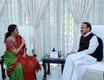 The Union Finance Minister, Smt. Nirmala Sitharaman calling on the Vice President, Shri M. Venkaiah Naidu, ahead of the upcoming Budget Session,  in New Delhi on January 25, 2020.