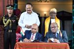 The Vice President, Shri M. Venkaiah Naidu witnessing the signing of MoUs, along with the President of the Union of Comoros, Mr. Azali Assoumani, at the Presidential Palace in Moroni, Comoros on October 11, 2019.