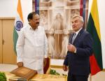 The Vice President, Shri M. Venkaiah Naidu in a meeting with the Speaker, Mr. Viktoras Pranckietis at the Seimas (Parliament) of the Republic of Lithuania in Vilnius on August 19, 2019.