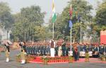 The Vice President of India, Shri M. Venkaiah Naidu taking the salute during the inauguration of the NCC Republic Day Camp 2018 in New Delhi on January 06, 2018.